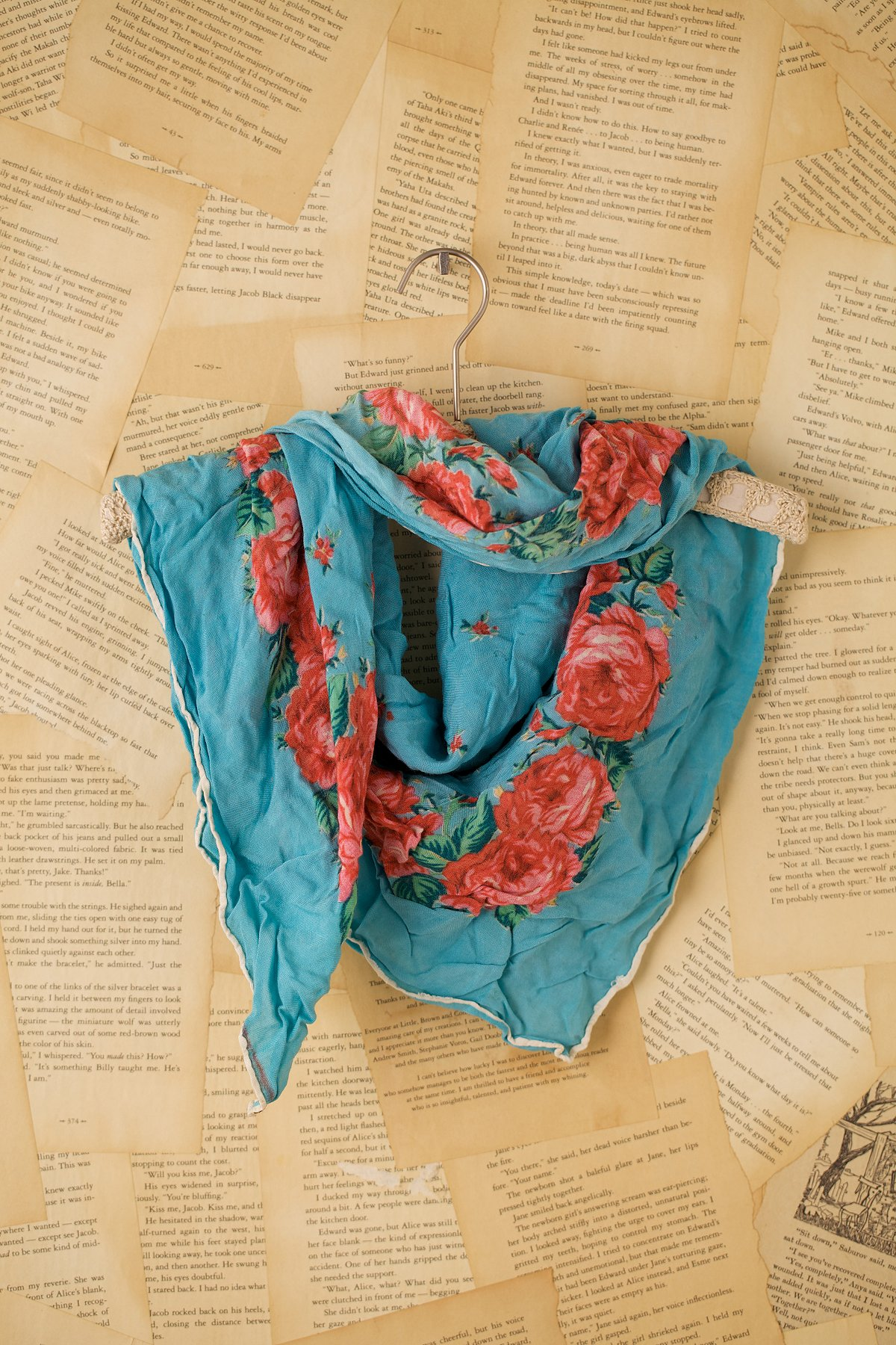 Vintage Turquoise Scarf with Roses