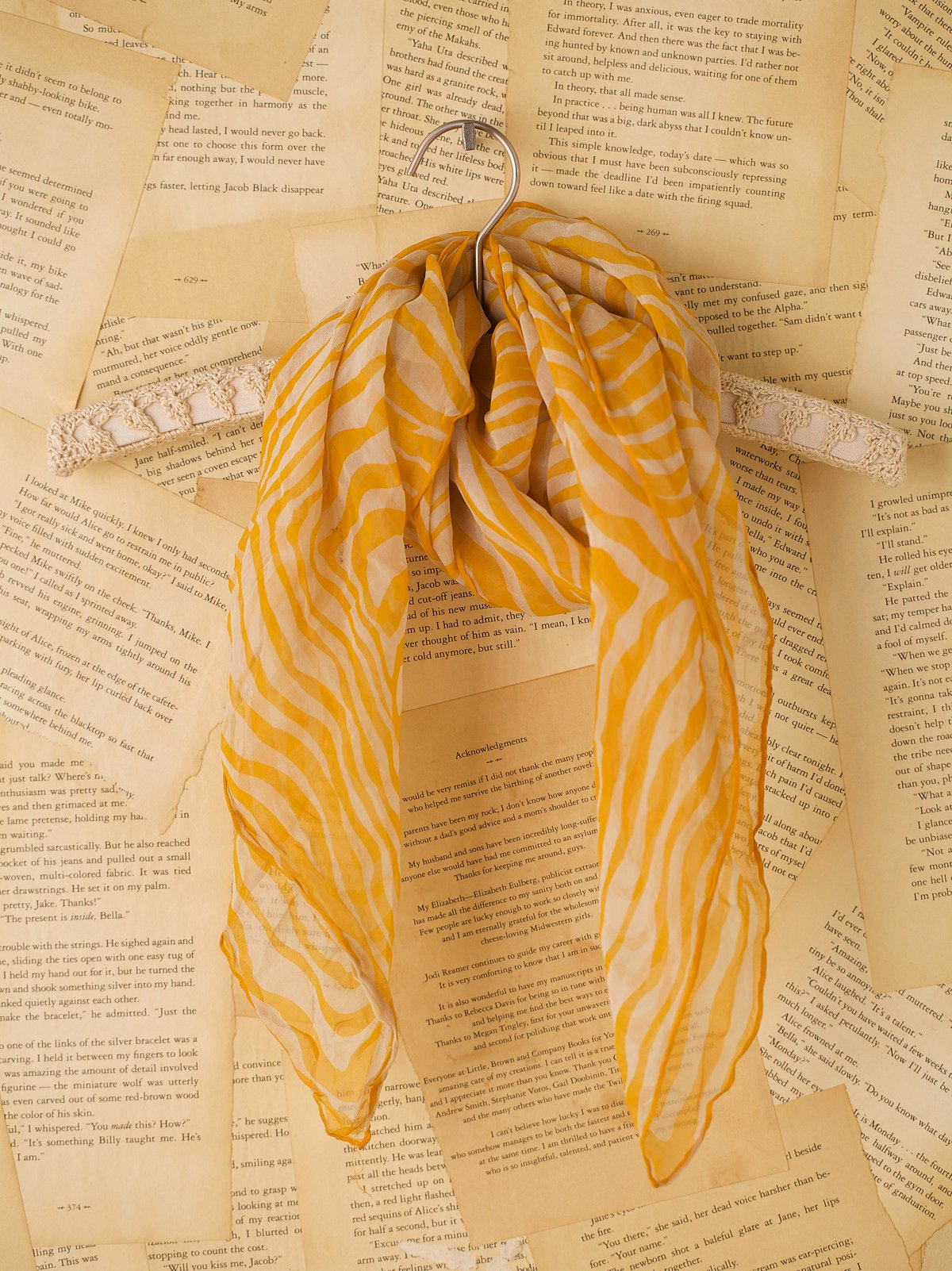 Vintage Yellow and White Scarf