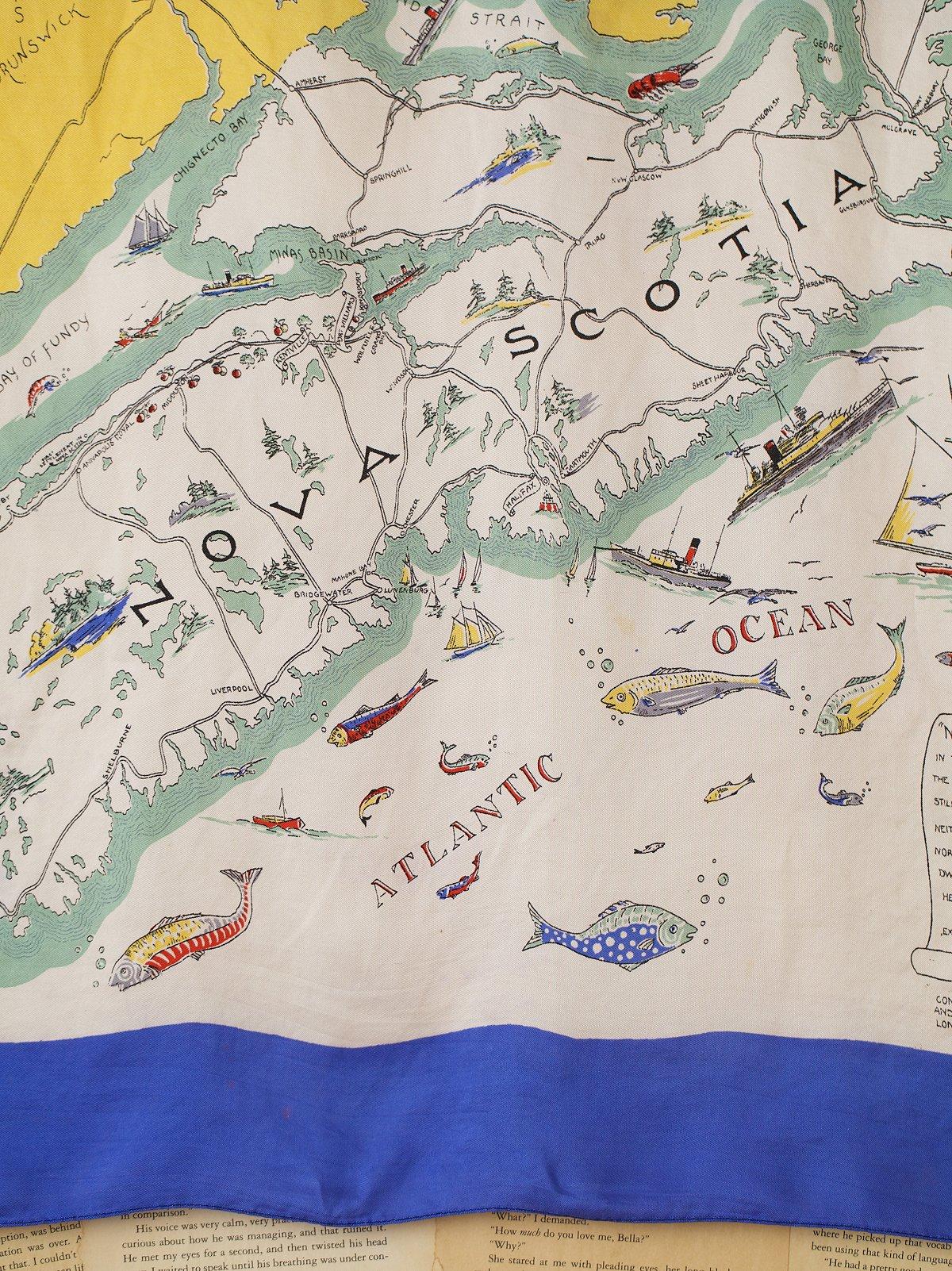 Vintage Nova Scotia Map Print Scarf