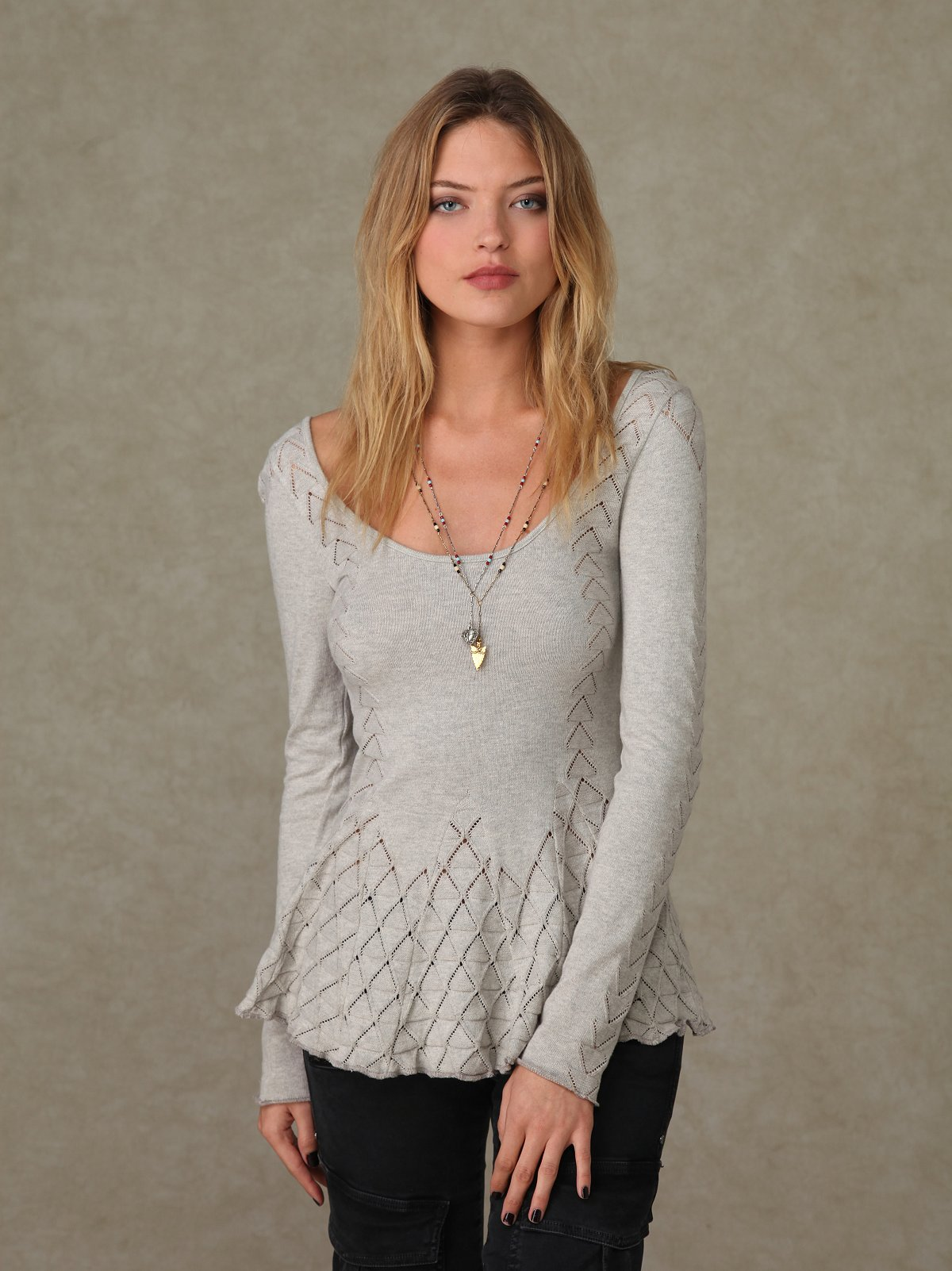 Long Sleeve Sweater Pointelle Tunic