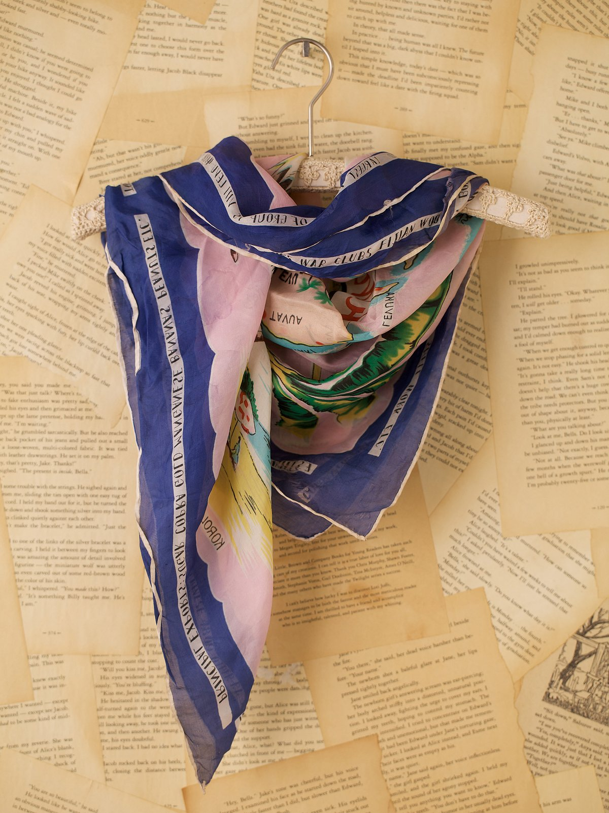 Vintage Tropical Themed Map Print Scarf