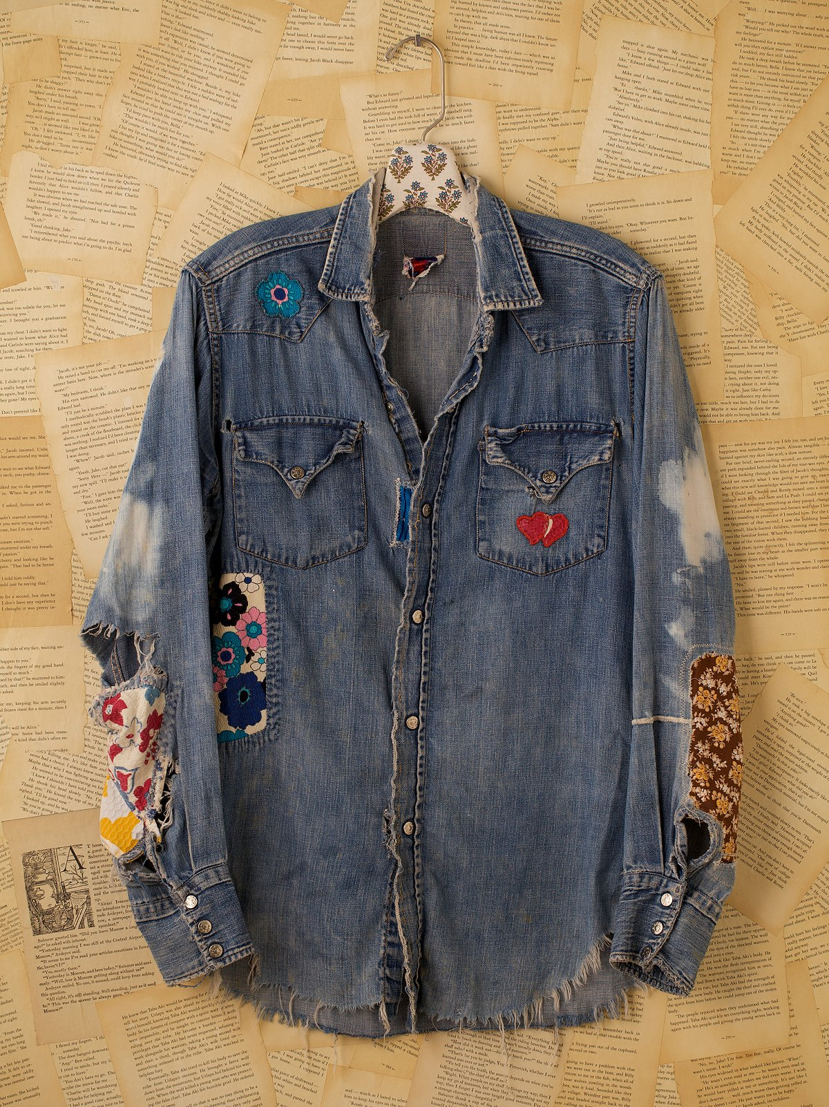 Vintage Long Sleeve Denim Shirt with Patches & Holes