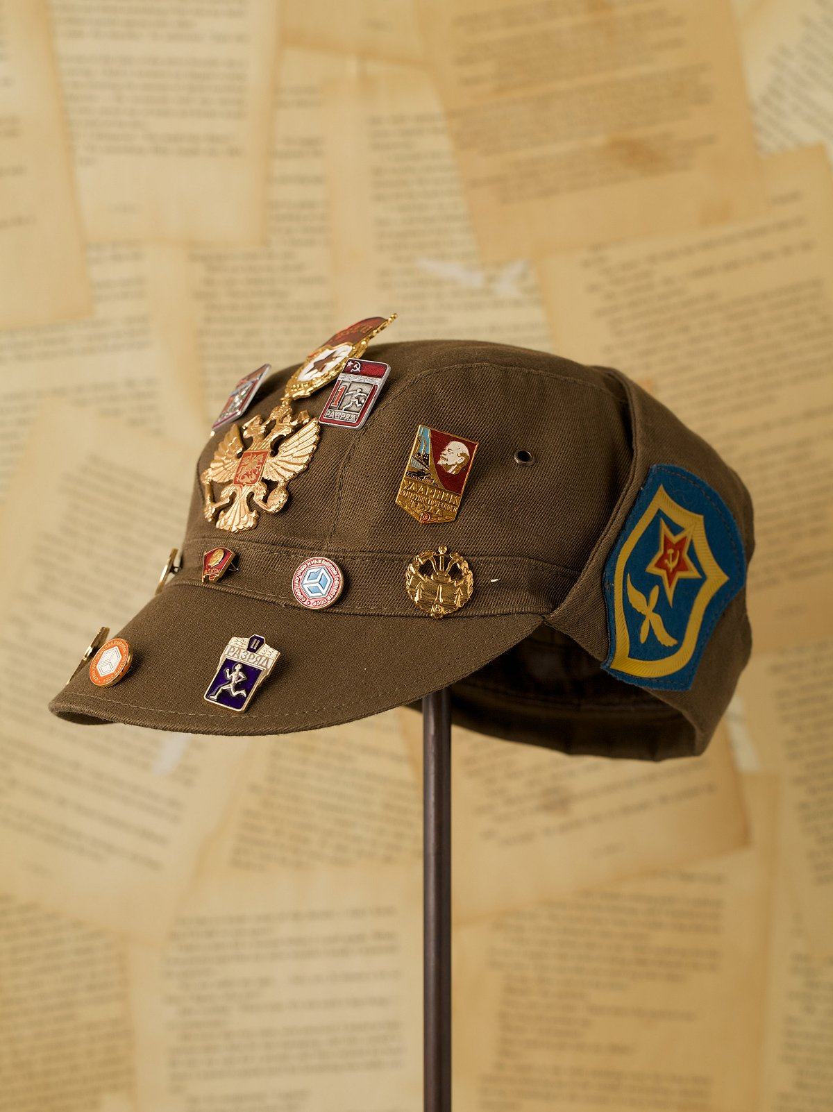 Vintage Military Hat with Pins