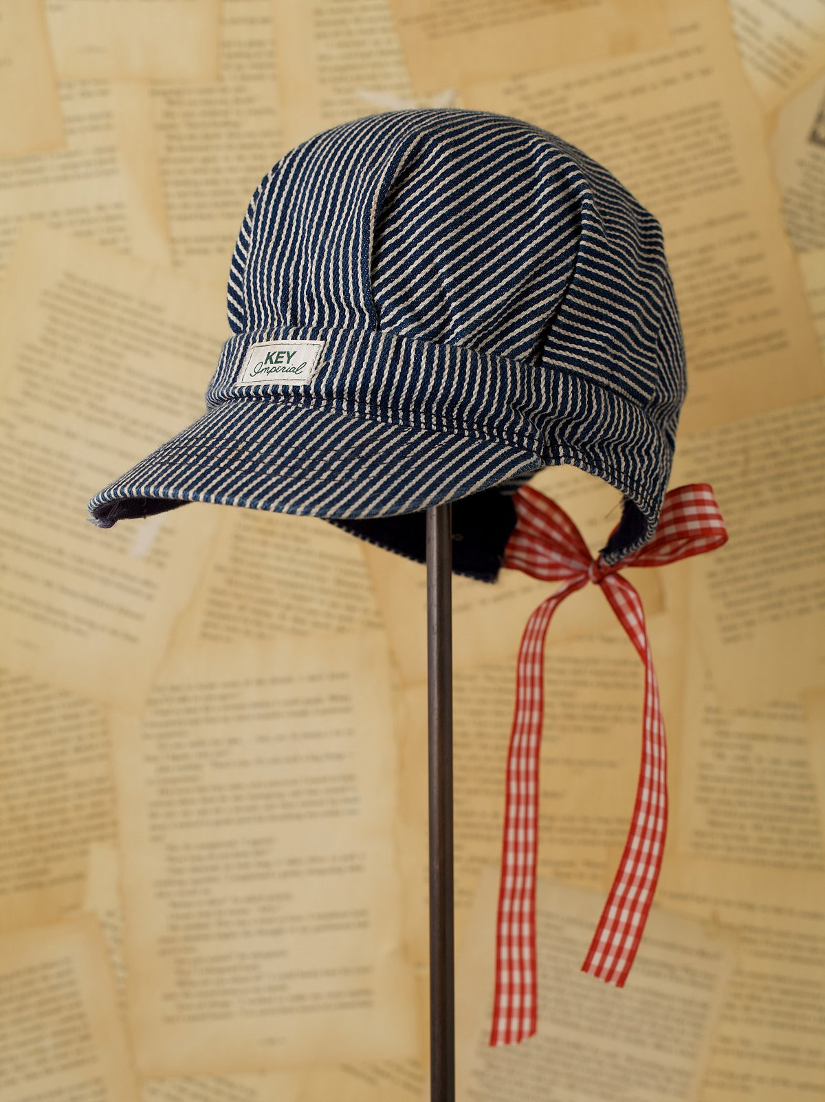 Vintaged Striped Engineer Hat with Ribbon