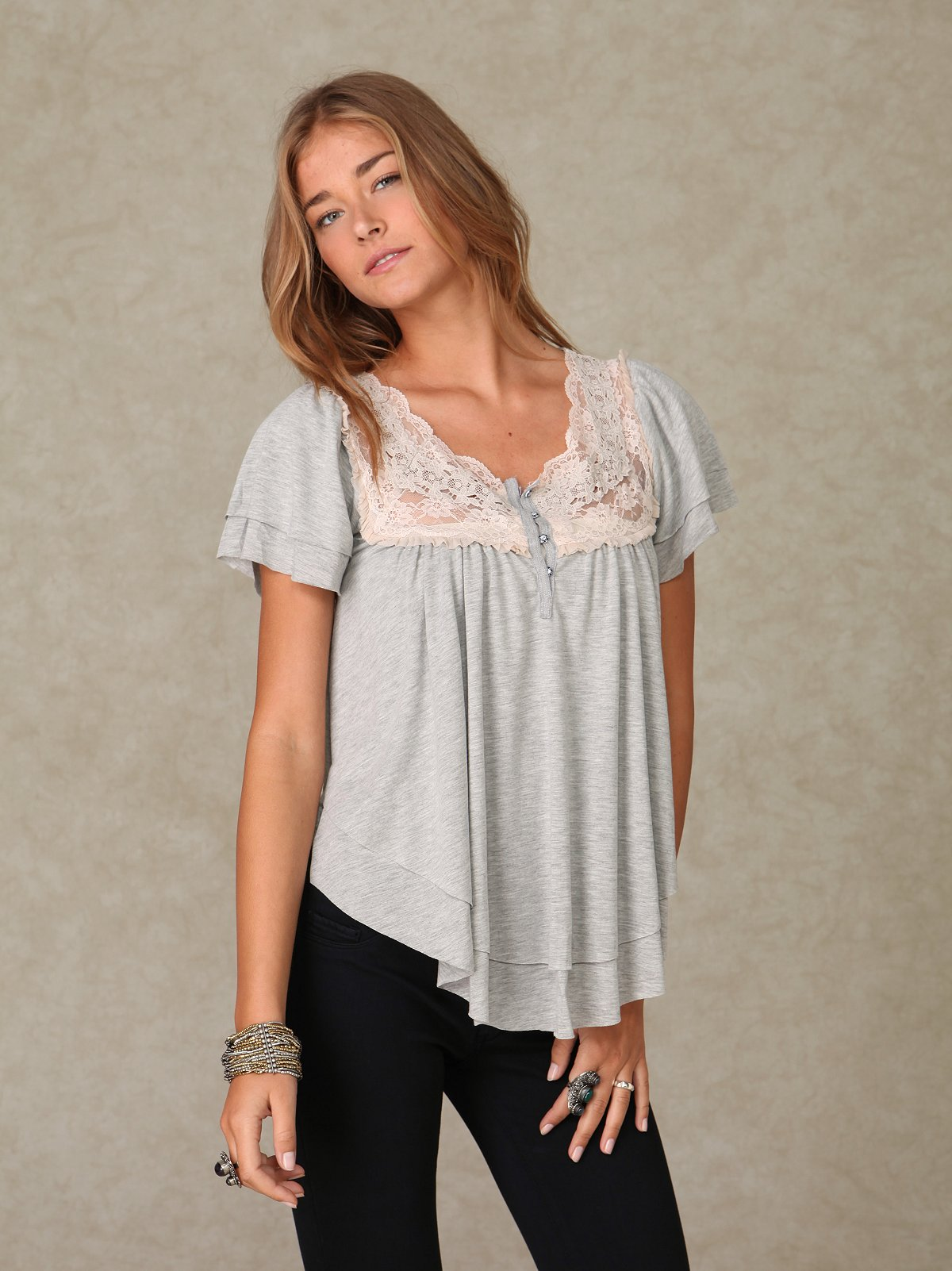 Shortsleeve Boho Lace Neck Blouse