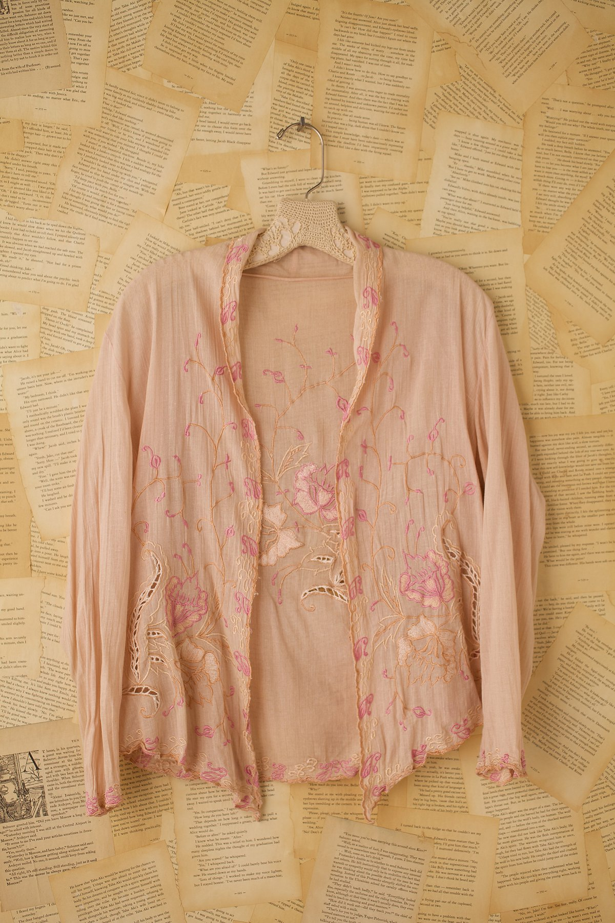 Vintage Embroidered Cotton Voile Long Sleeve Shirt