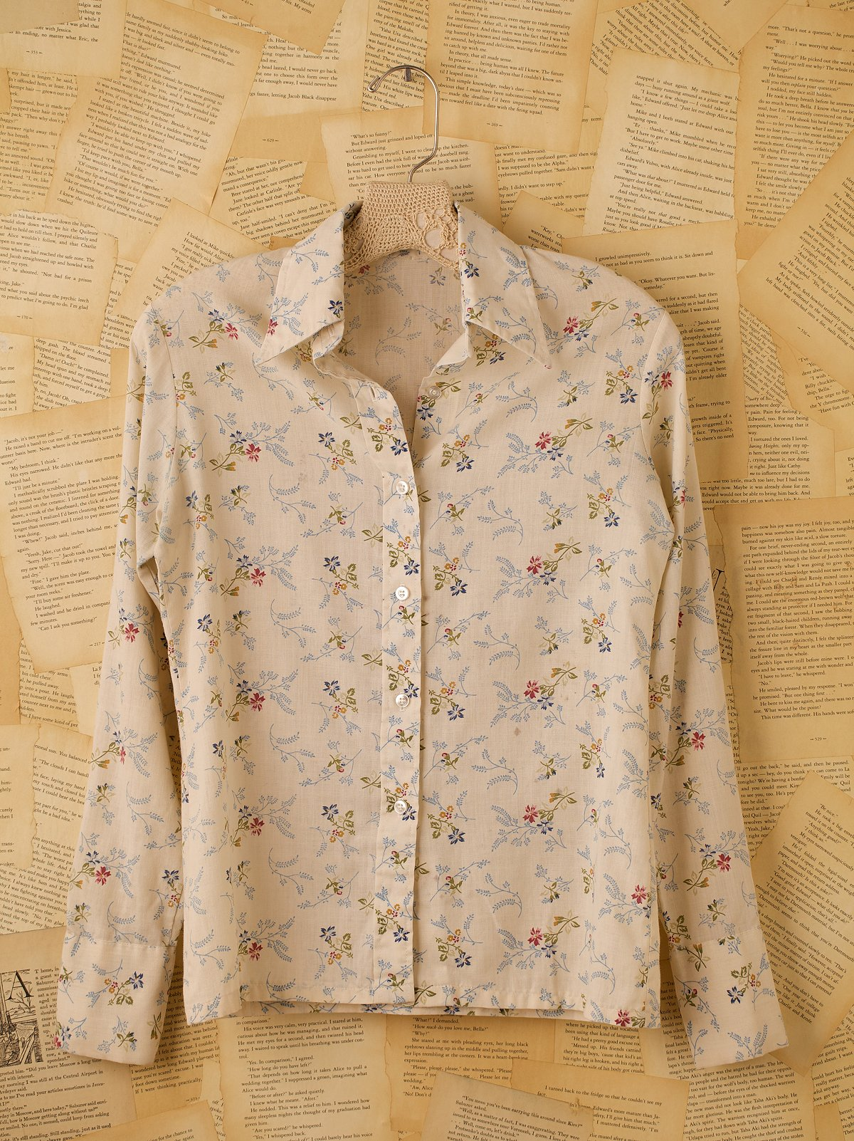 Vintage White Floral Button Down
