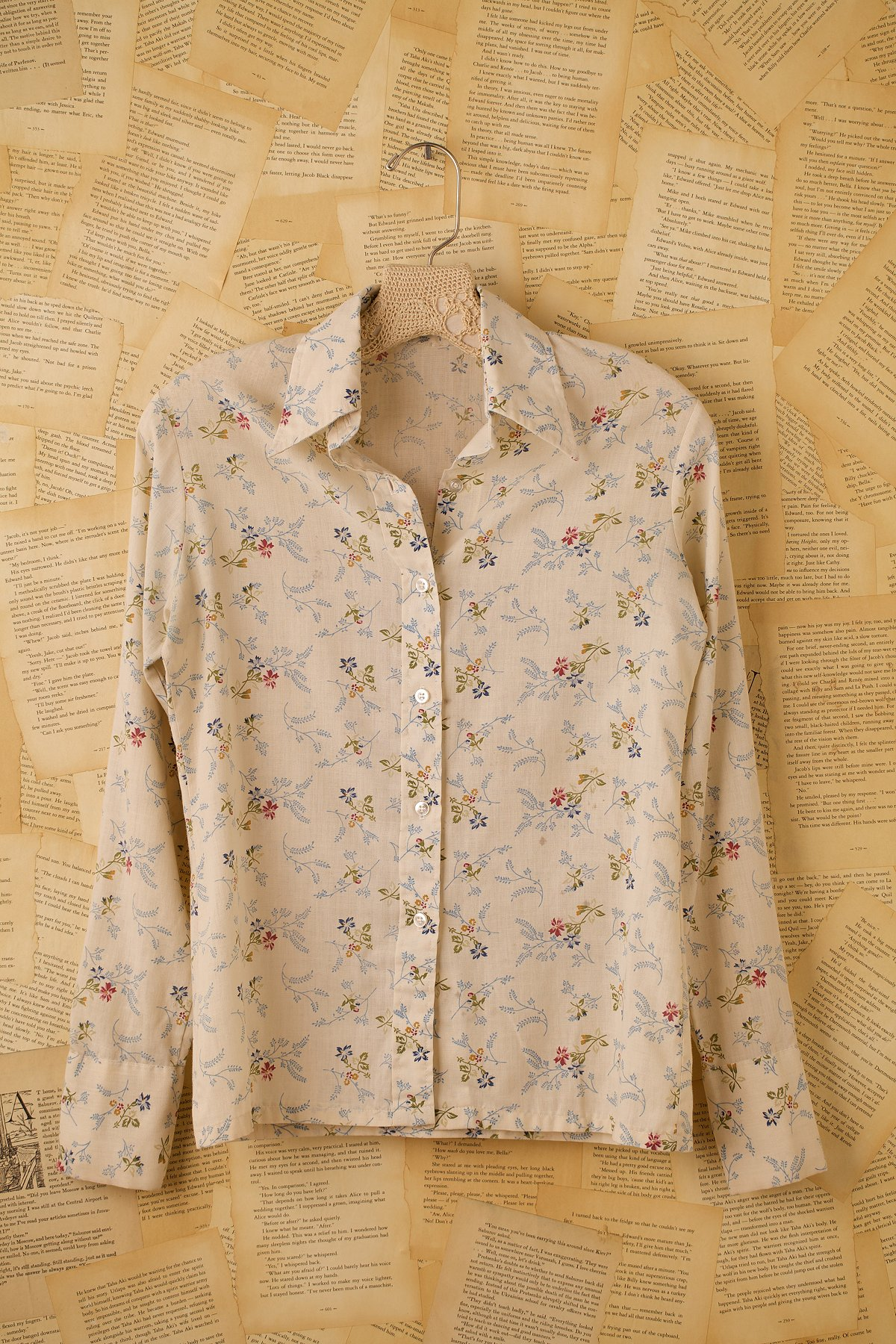 Vintage White Floral Button Down