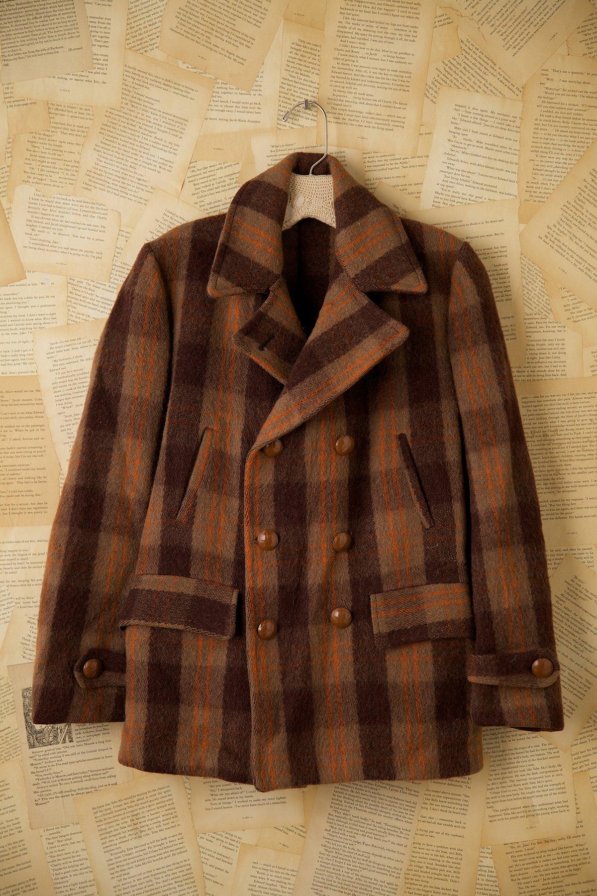 Vintage Three-Quarter Length Wool Plaid Jacket