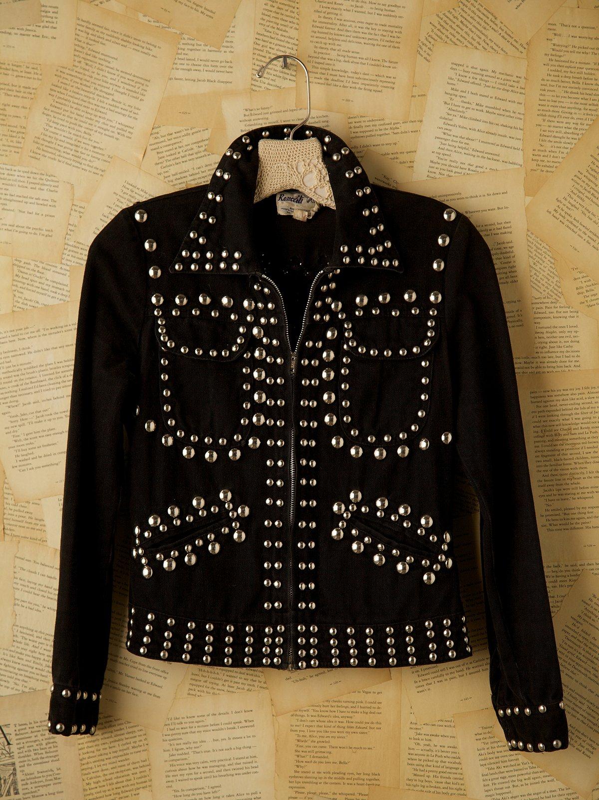 Vintage Black Studded Denim Jacket