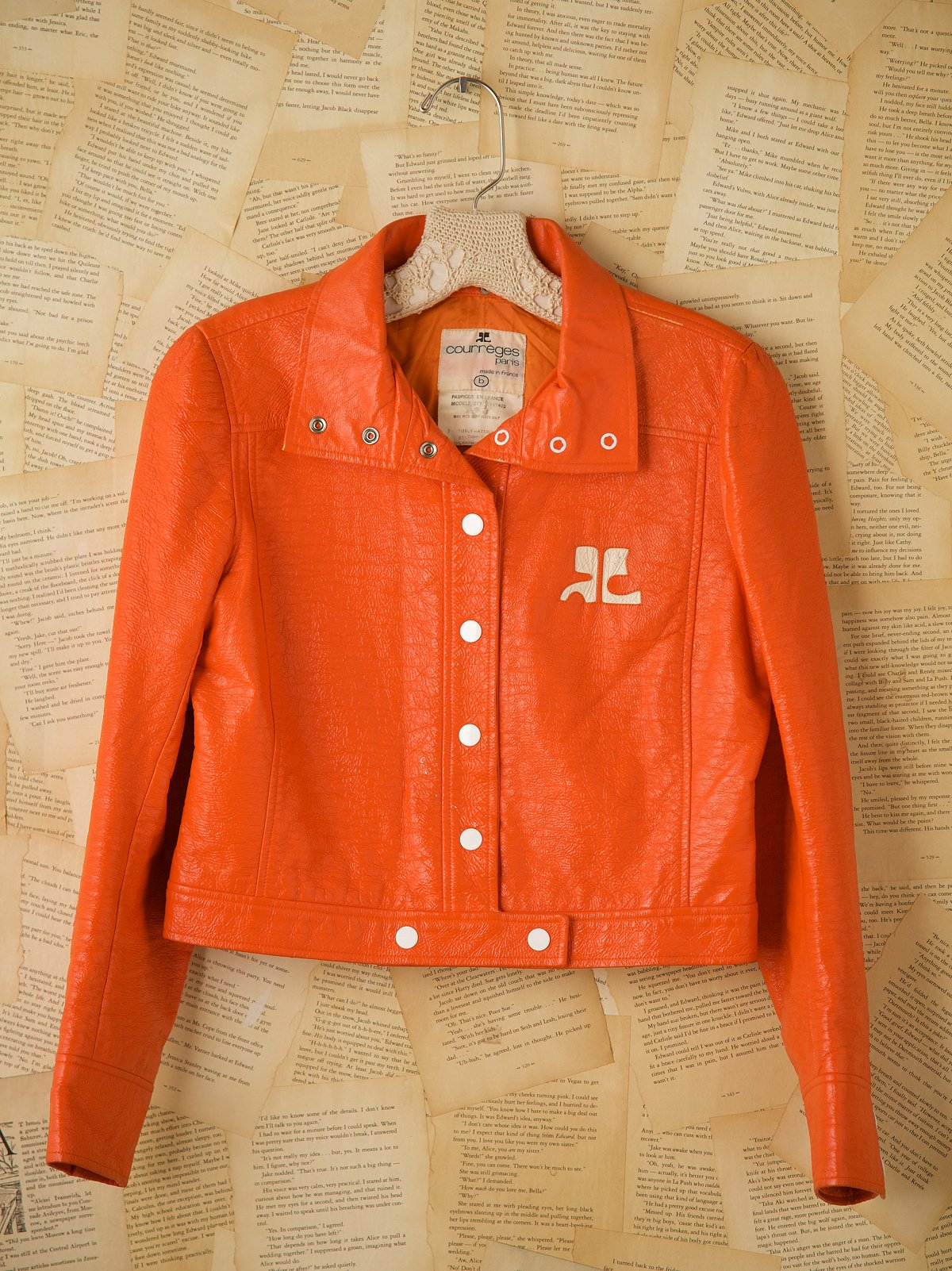 Vintage Courreges Paris Orange Jean Jacket