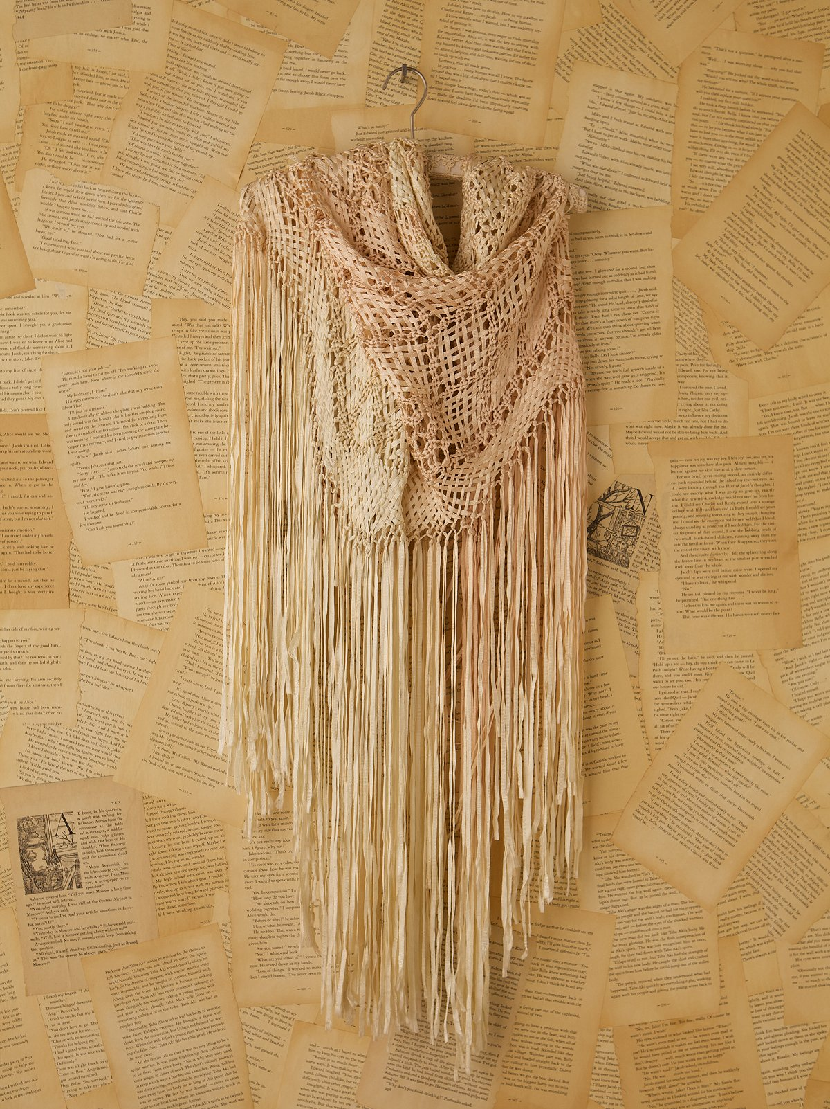 Vintage Cream Crochet Shawl