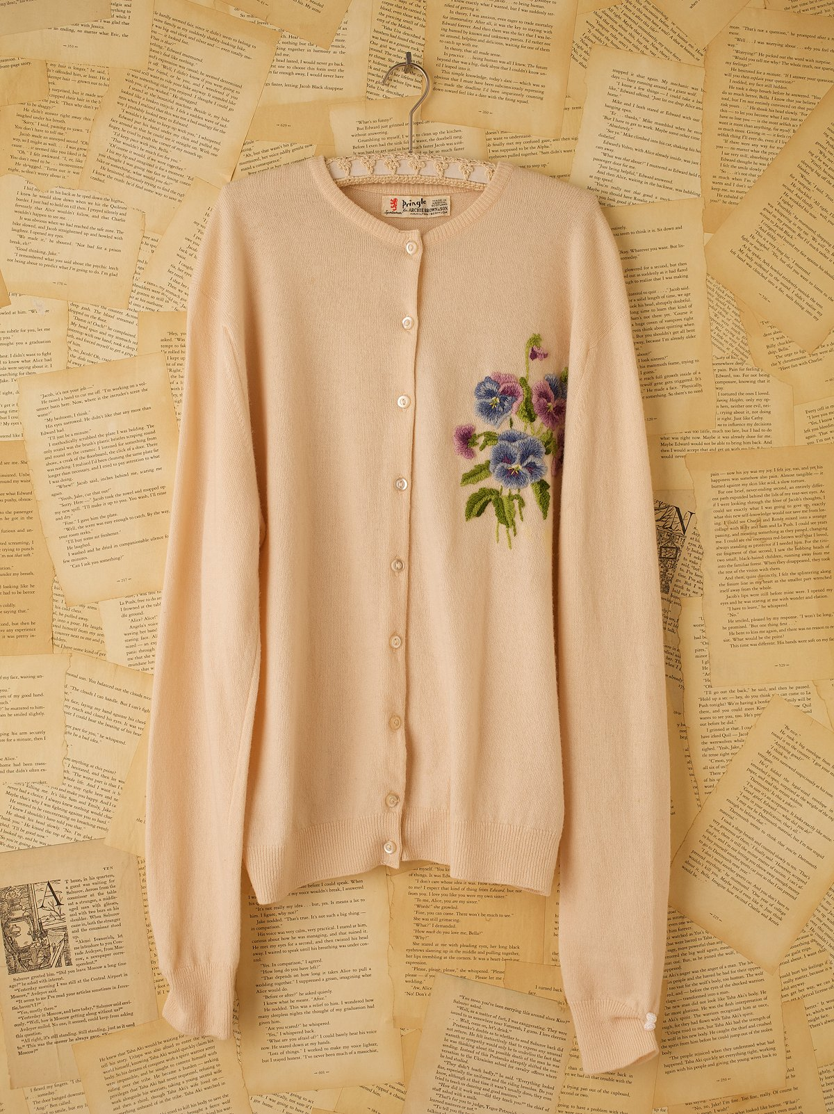 Vintage Embroidered Pansy Cardigan