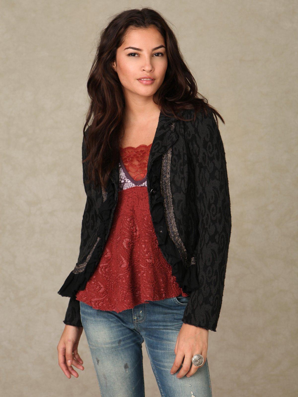 Textured Jacquard Ruffle Jacket