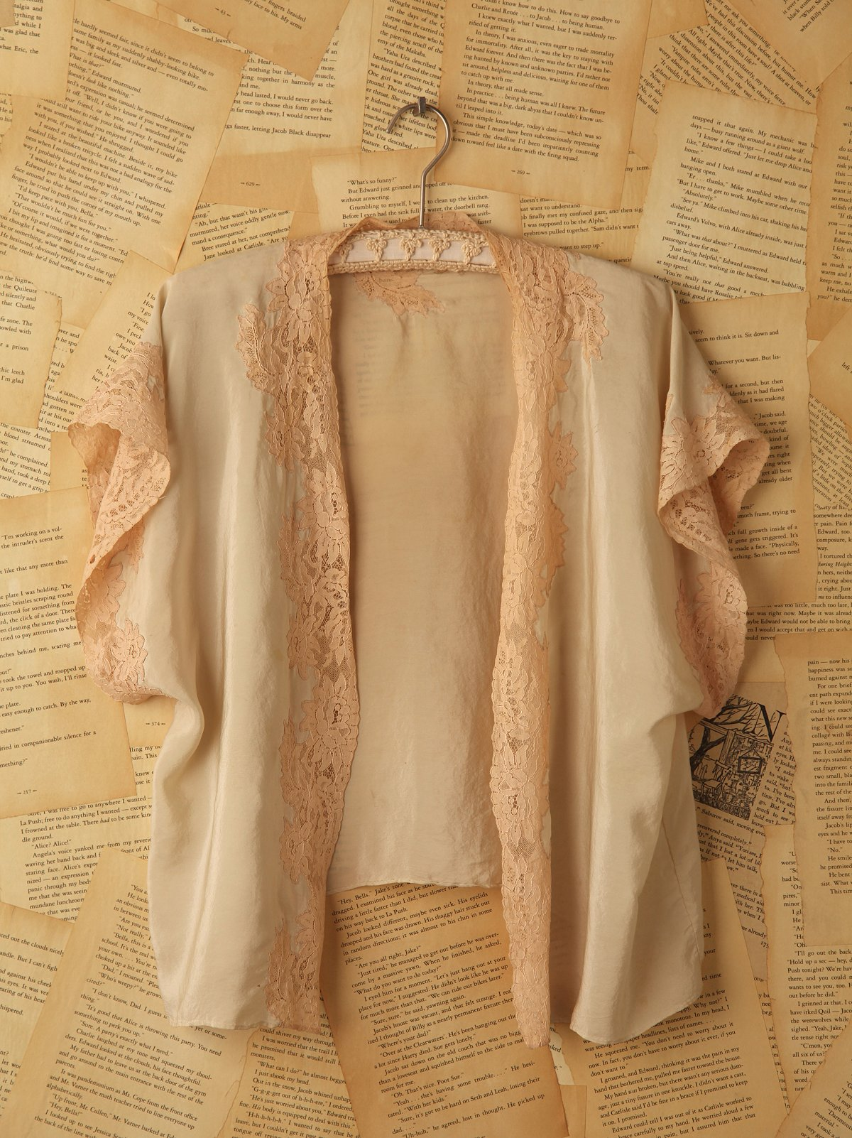 Vintage Silk Bed Jacket with Lace Trim