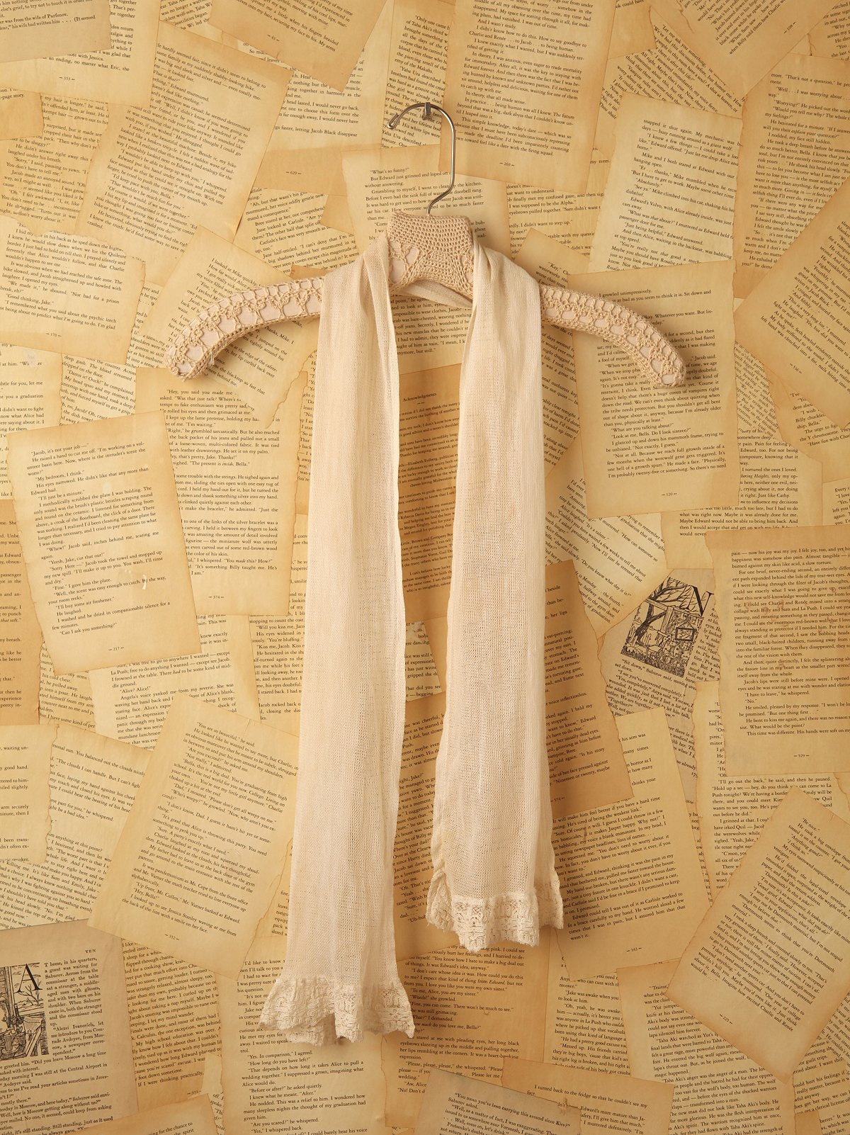 Vintage Net Scarf with Lace Trim