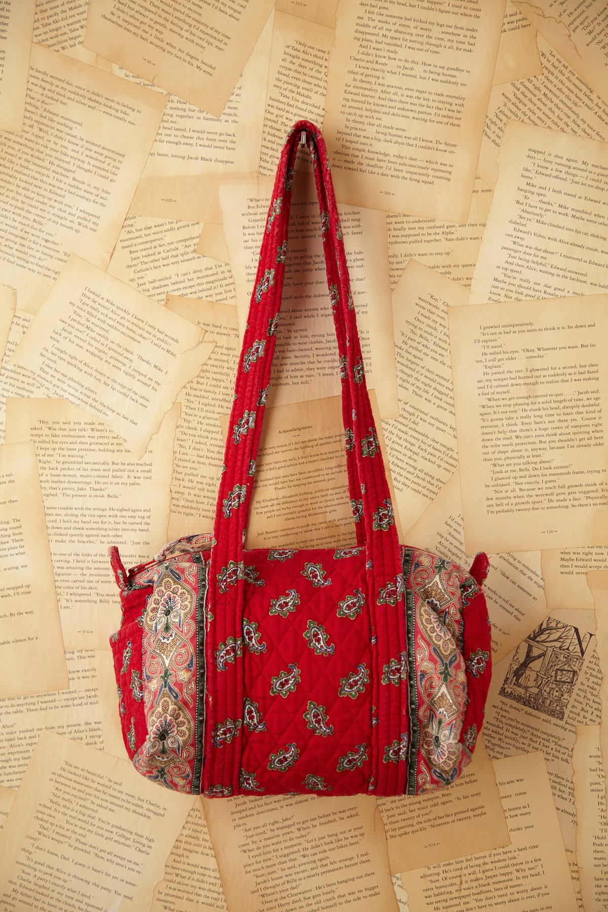 Vintage Red Quilt Paisley Bag