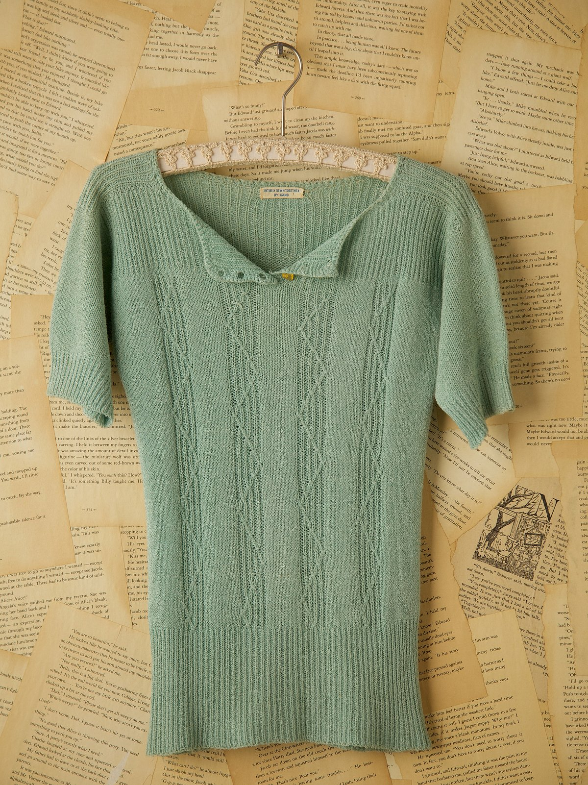 Vintage Blue Wool Short Sleeve Knit Sweater