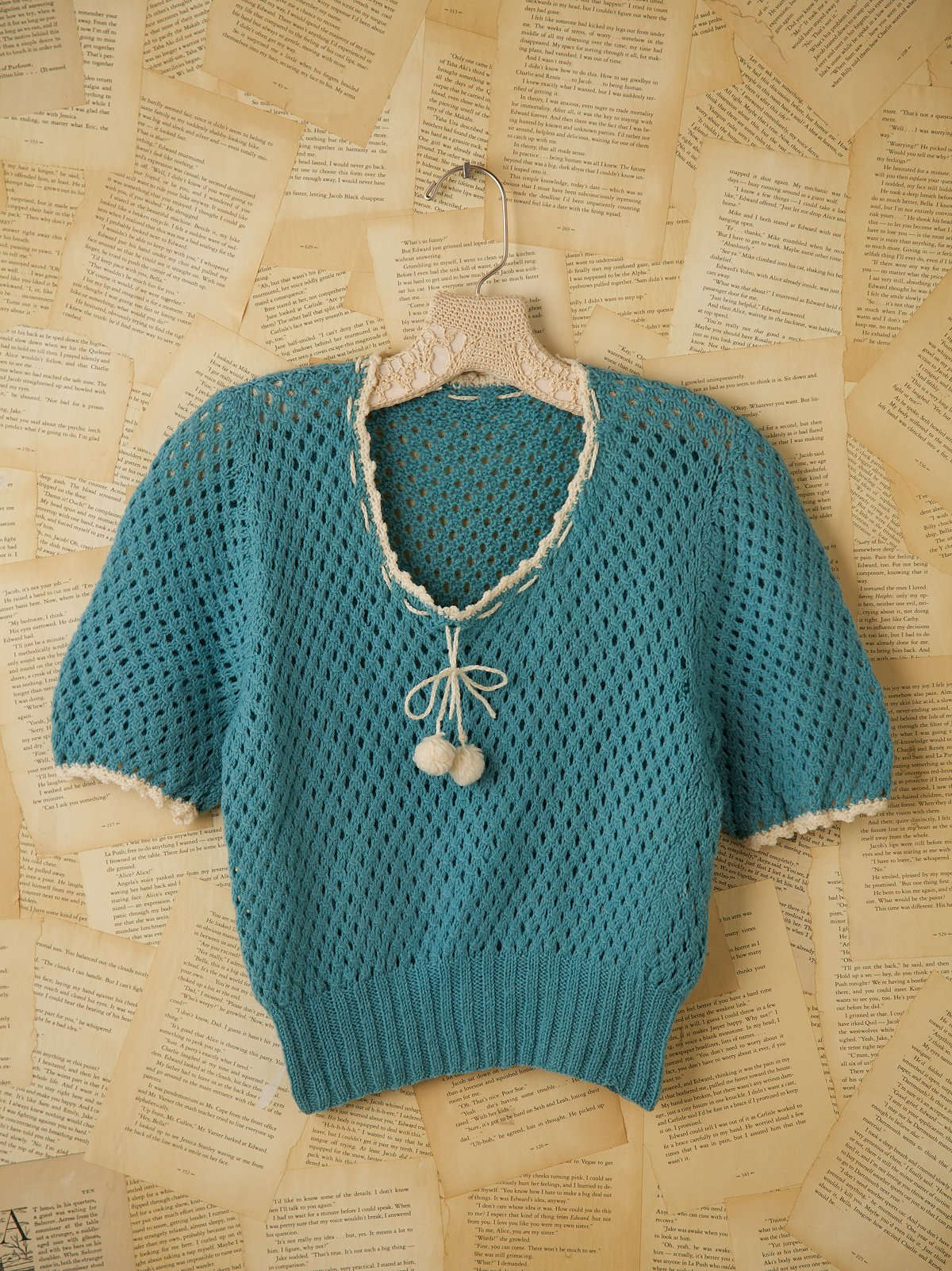 Short Sleeved Baby Blue Knit Sweater with Pom Poms