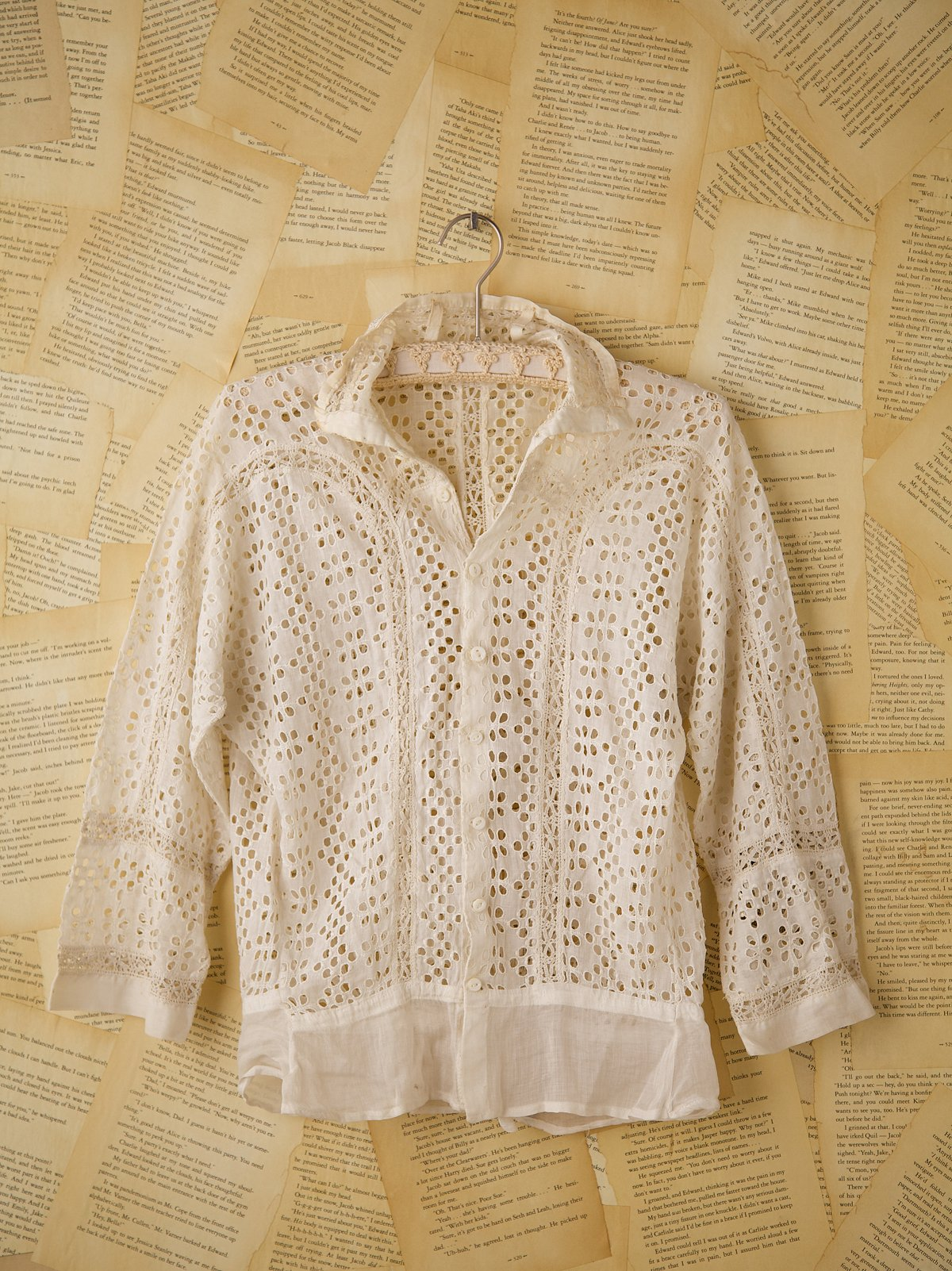 Vintage Short Sleeve Lace Eyelet Top