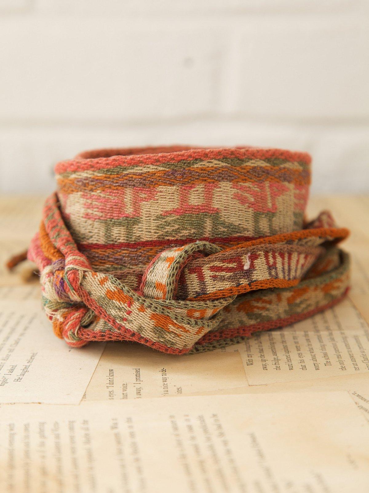Vintage Peruvian Wool Double-Wrap Belt