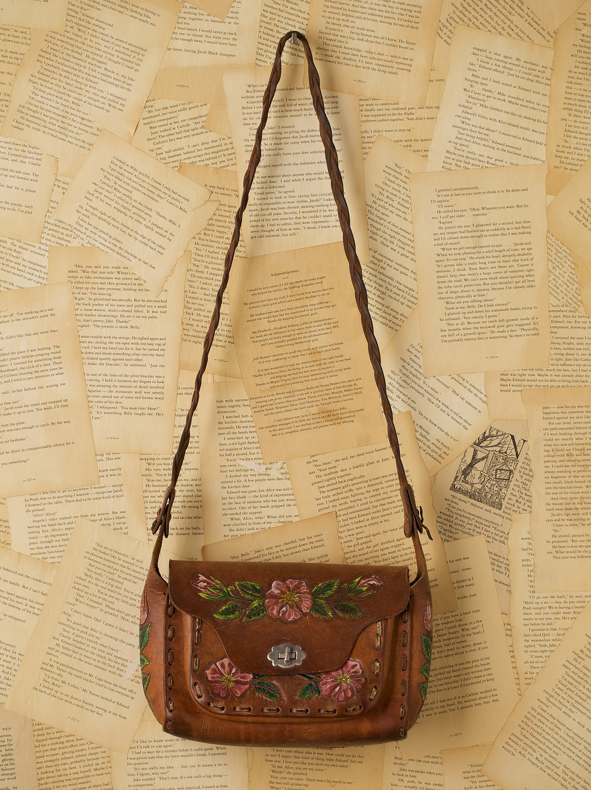 Vintage Painted Leather Bag with Braided Strap