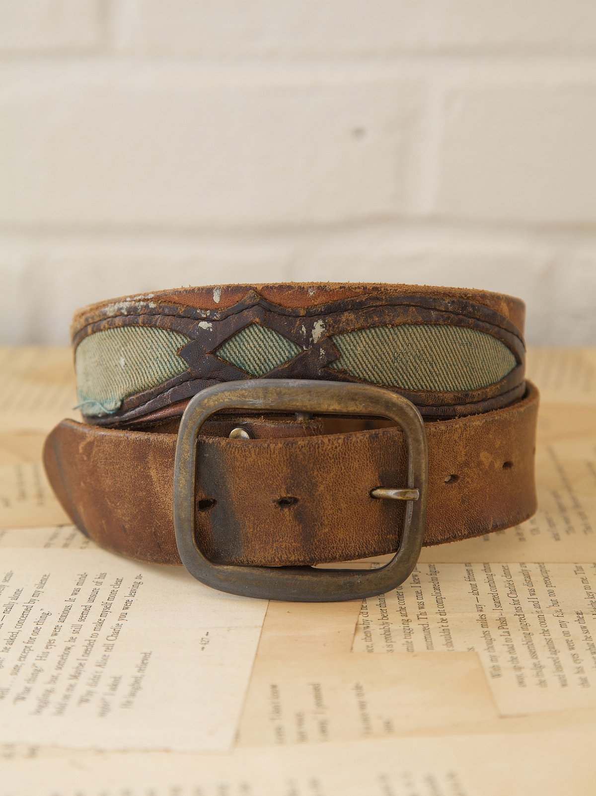 Vintage Leather Belt with Green Cotton Detail