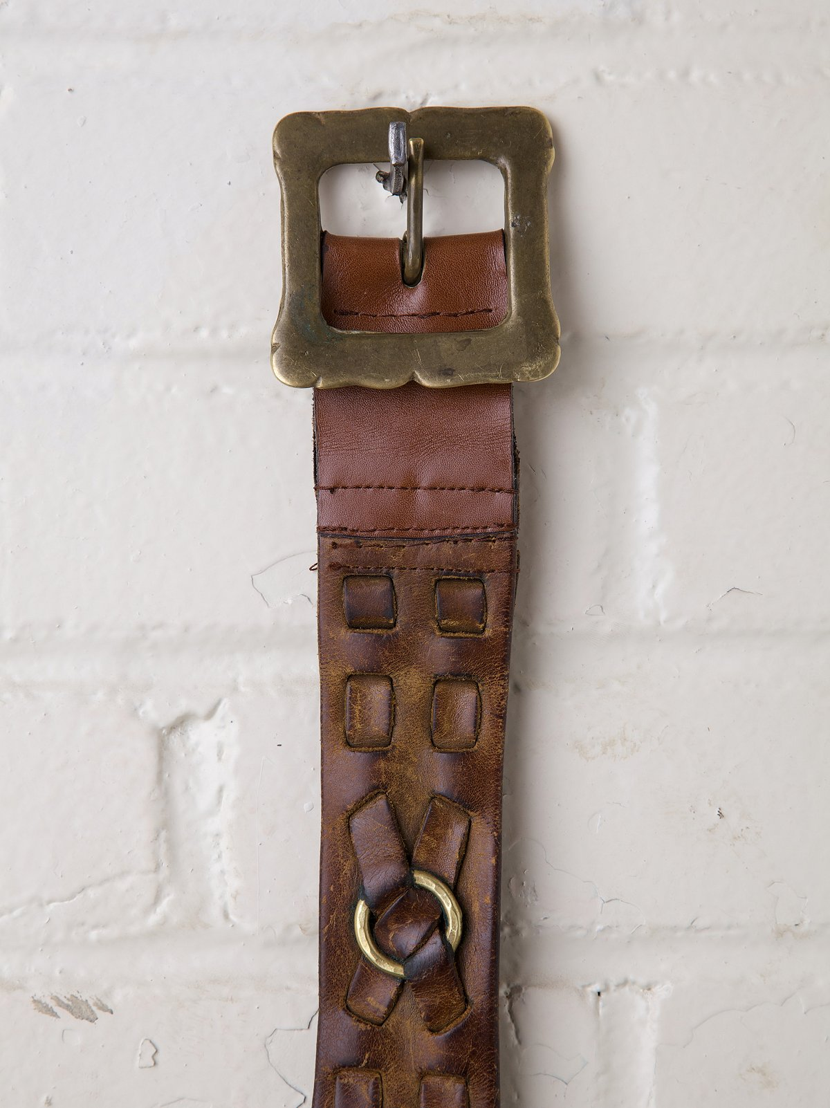 Vintage Leather Belt with Gold Rings