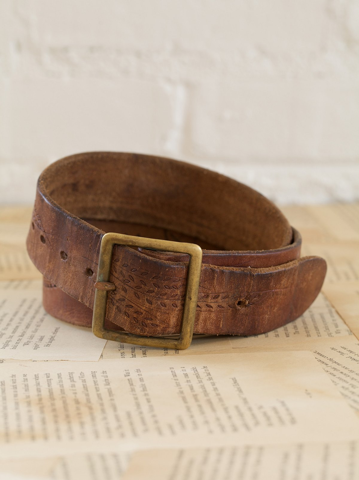 Vintage Leather Belt with Stamped Leaves