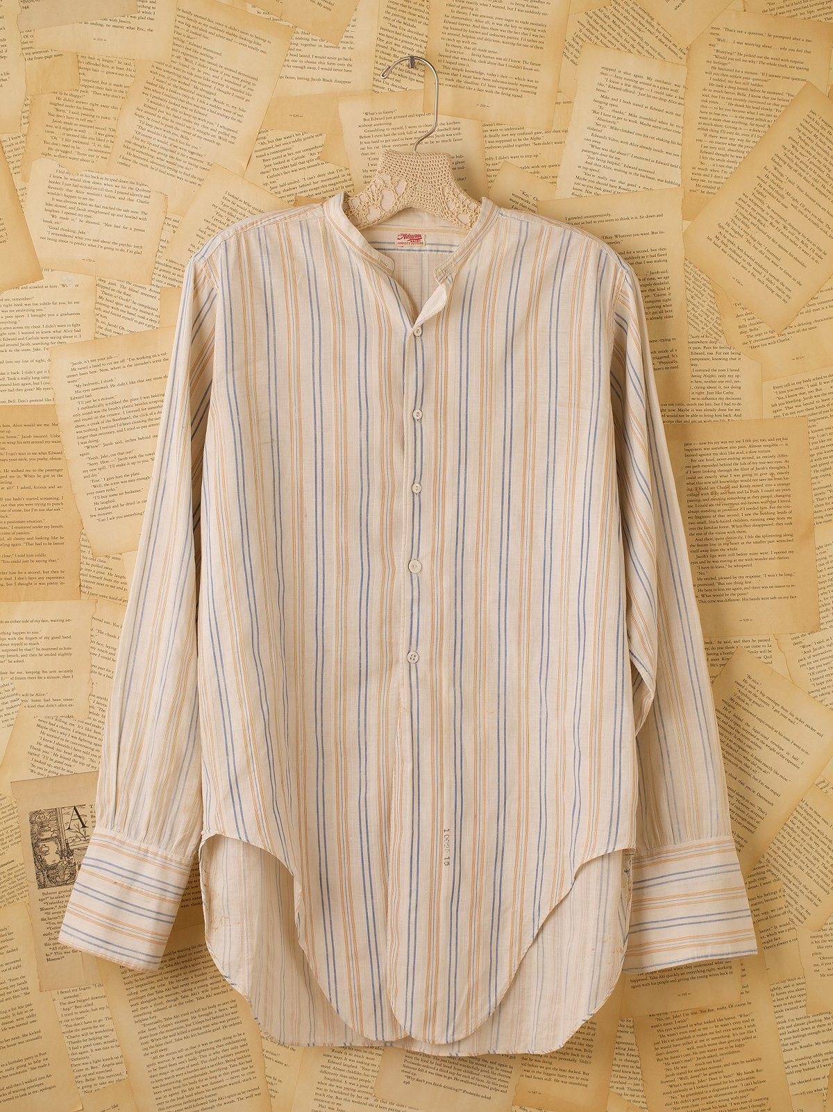 Vintage Collarless Long Sleeve Button Down Shirt