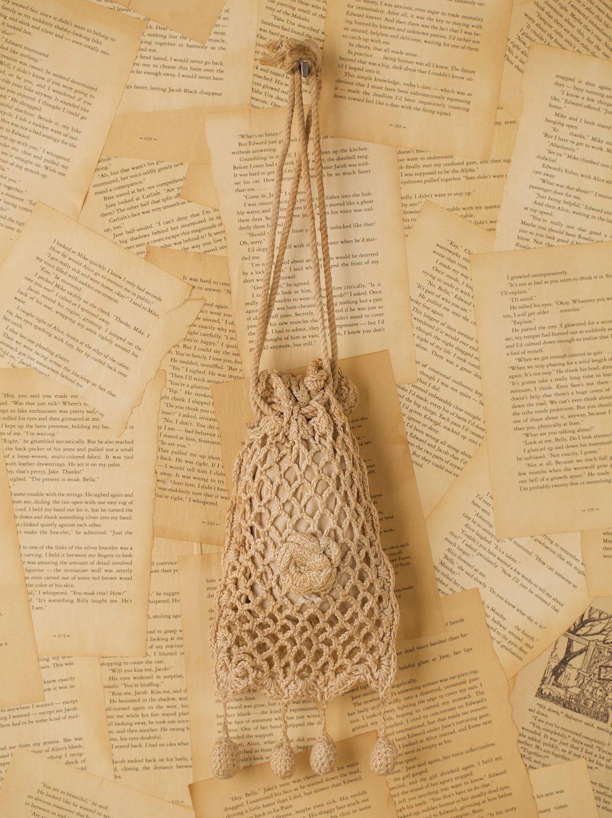 Vintage Knit Pompom Purse