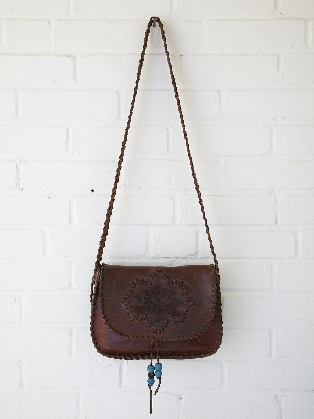 Vintage Whipstitch Feather Boho Bag