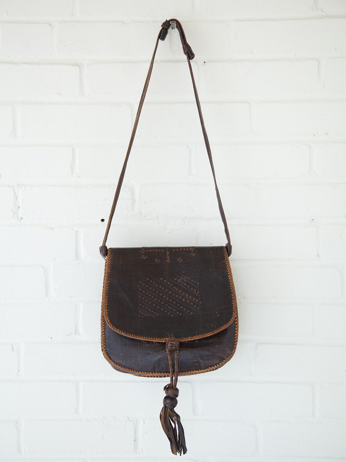 Vintage Leather Tassel Hobo Bag