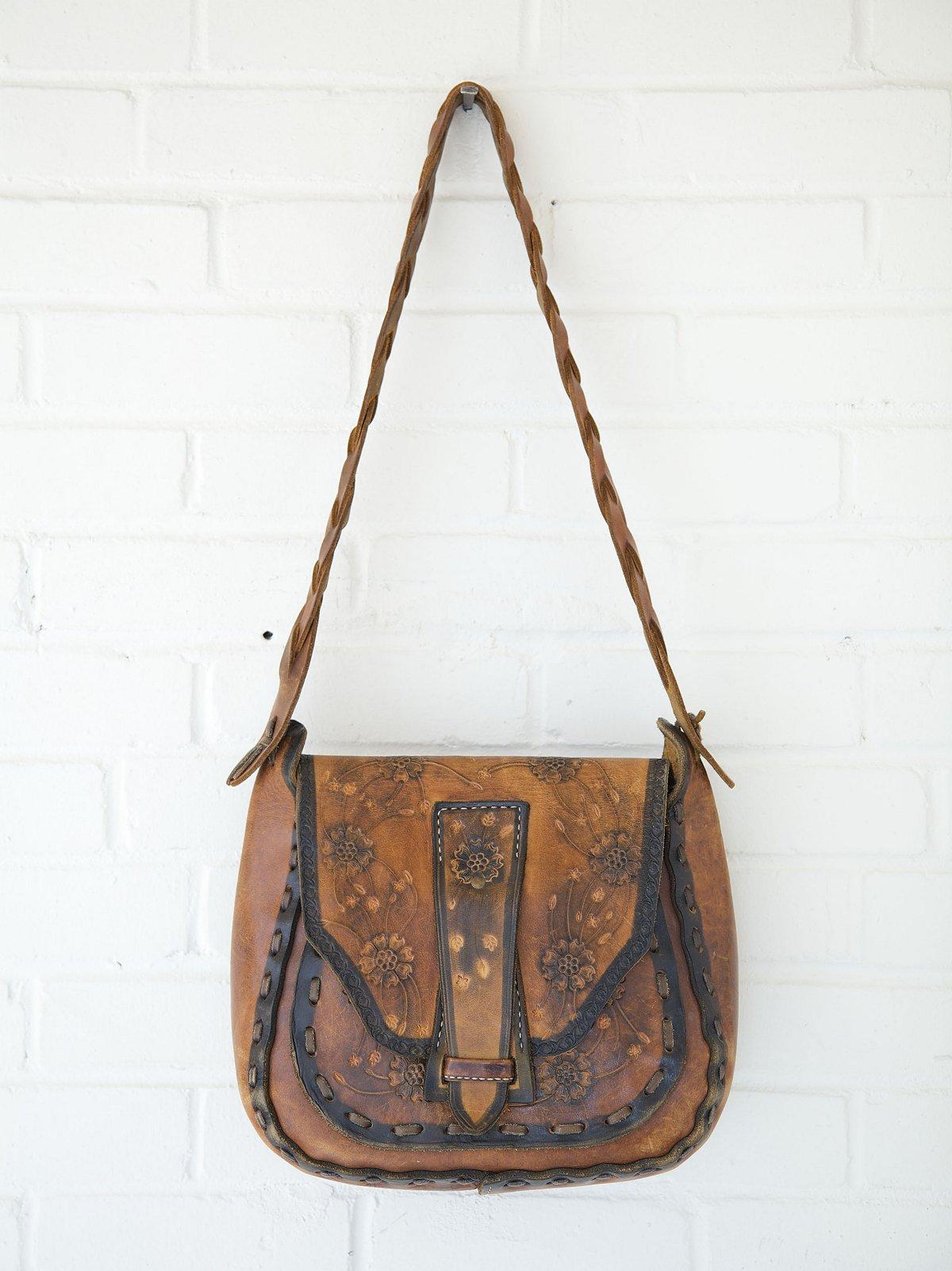 Vintage Dark Edged Flower Boho Bag