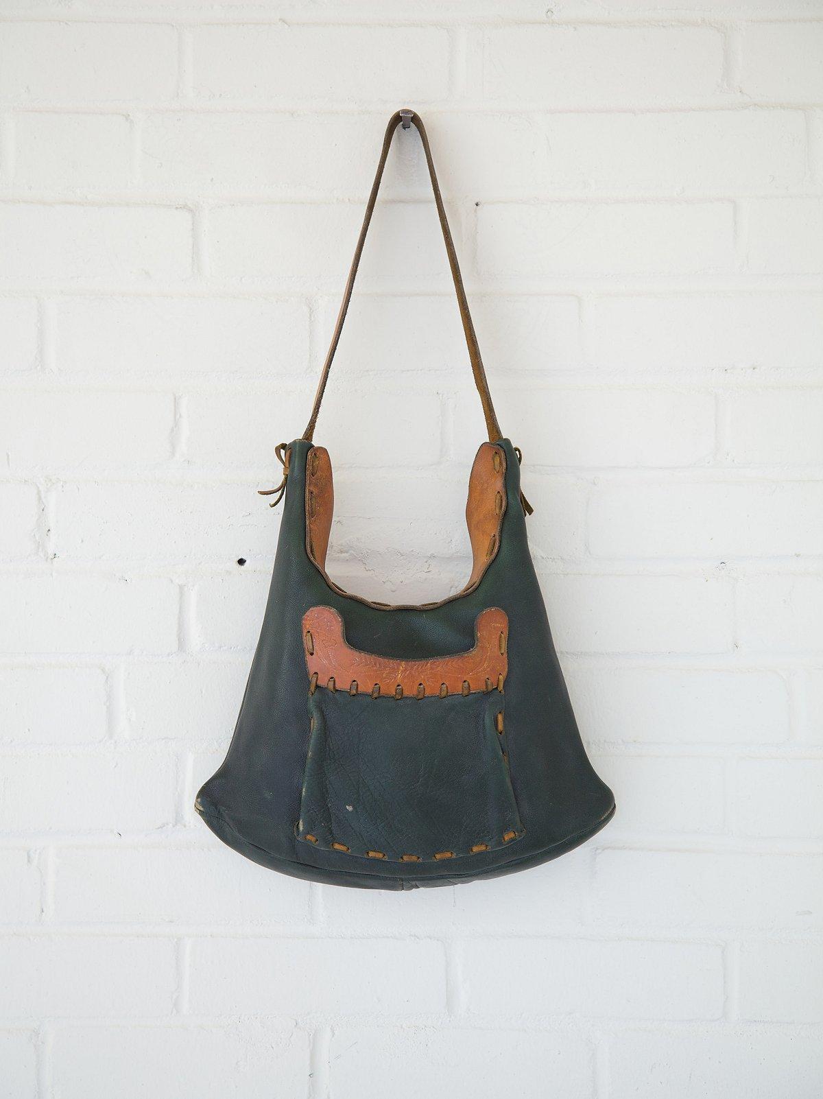 Vintage Whipstitch and Embossed Leaf Shoulder Bag