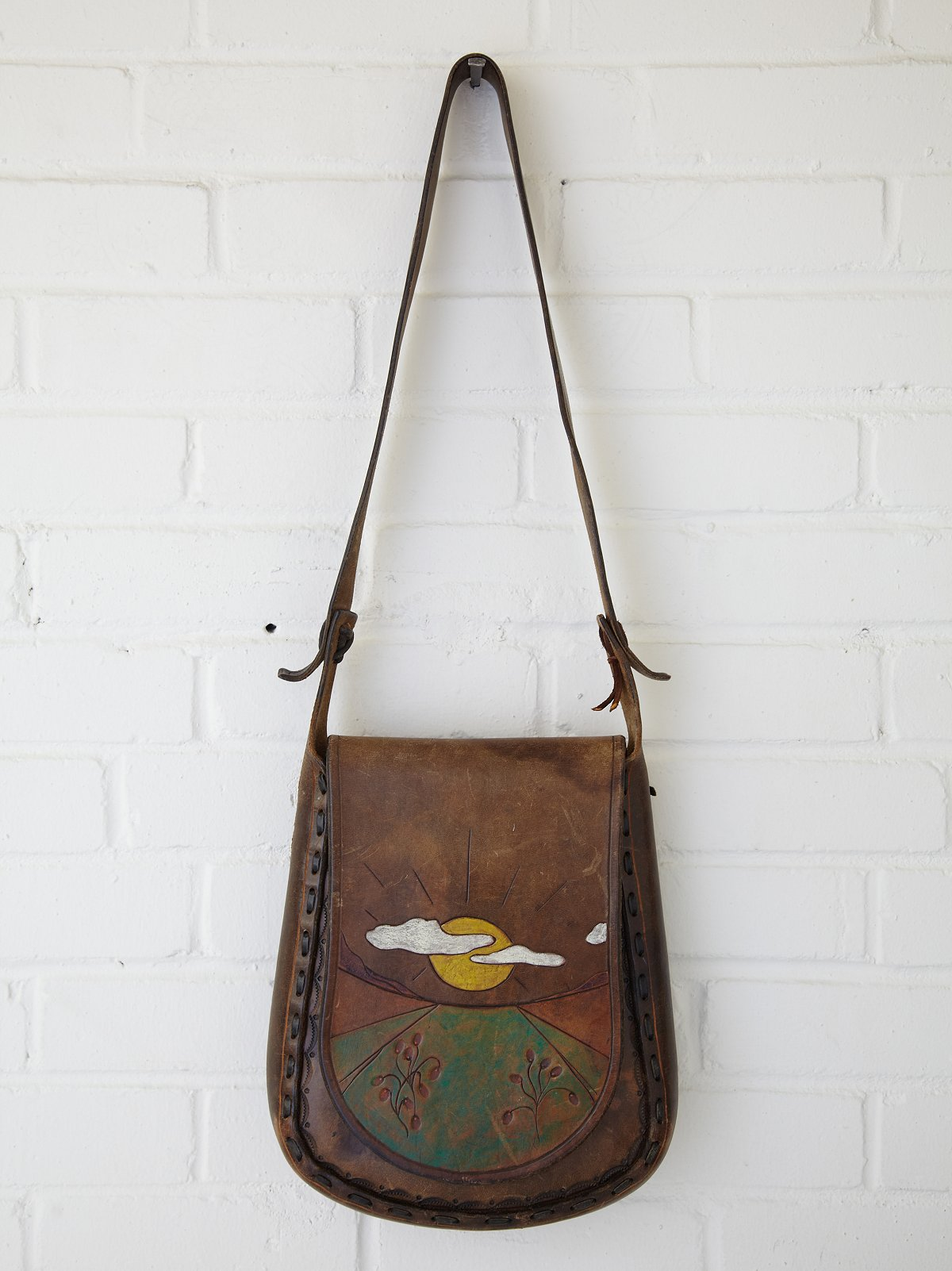 Vintage Sunrise Painted Boho Bag
