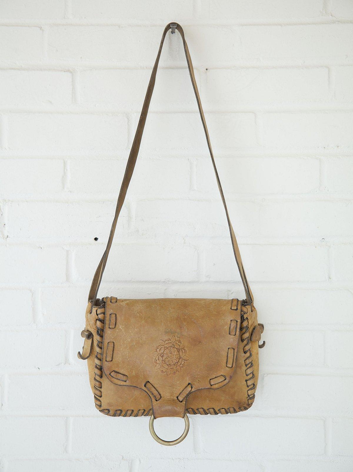 Vintage Large Whipstitched Painted Boho Bag