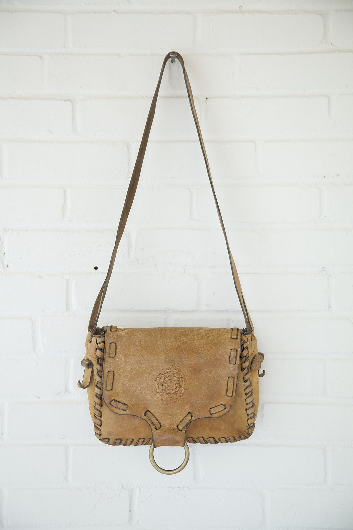 Vintage Large Whipstitched Painted Boho Bag