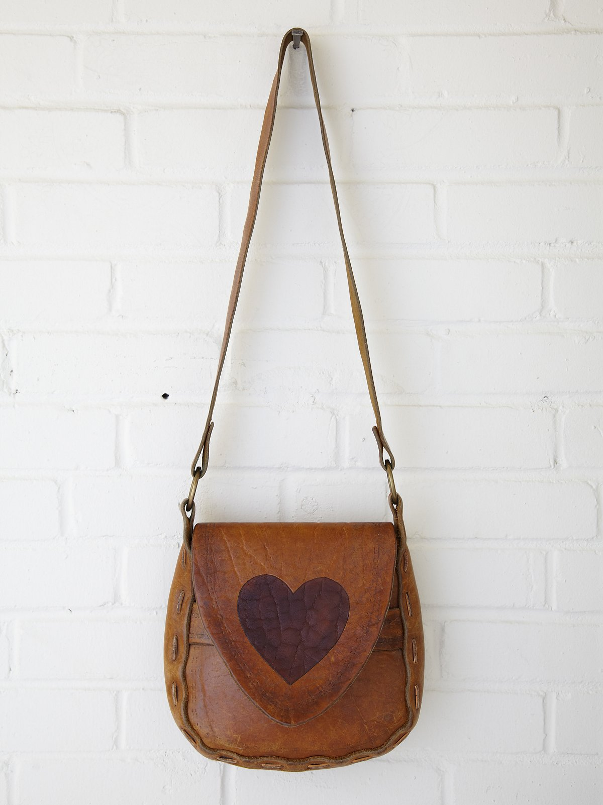 Vintage Heart Painted Boho Bag