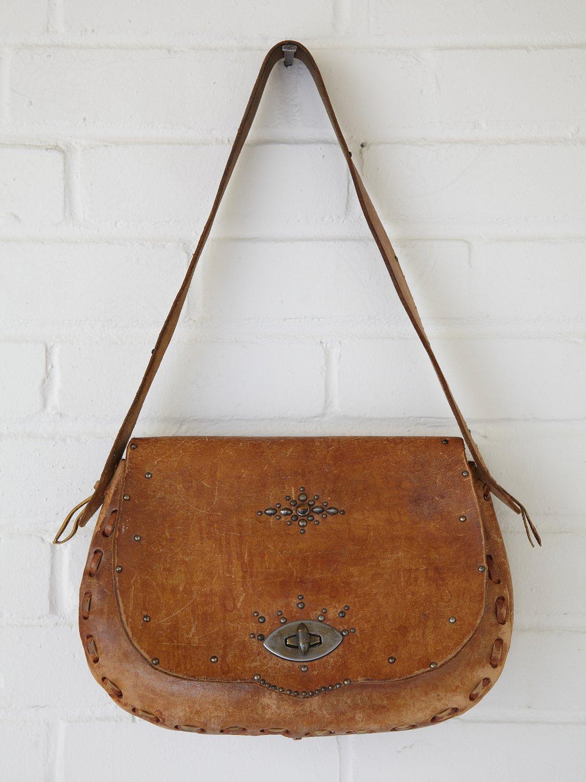 Vintage Tan Stud Saddle Bag
