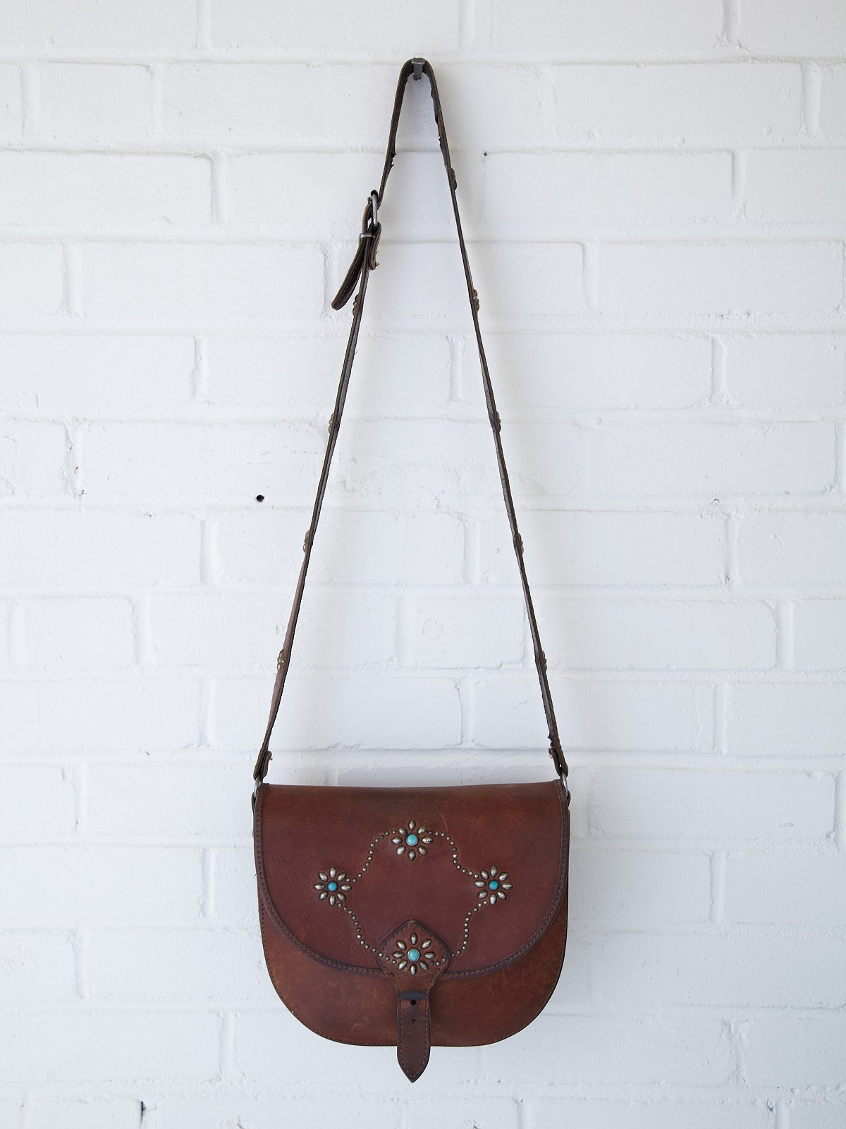 Vintage Brown Stud Floral Saddle Bag