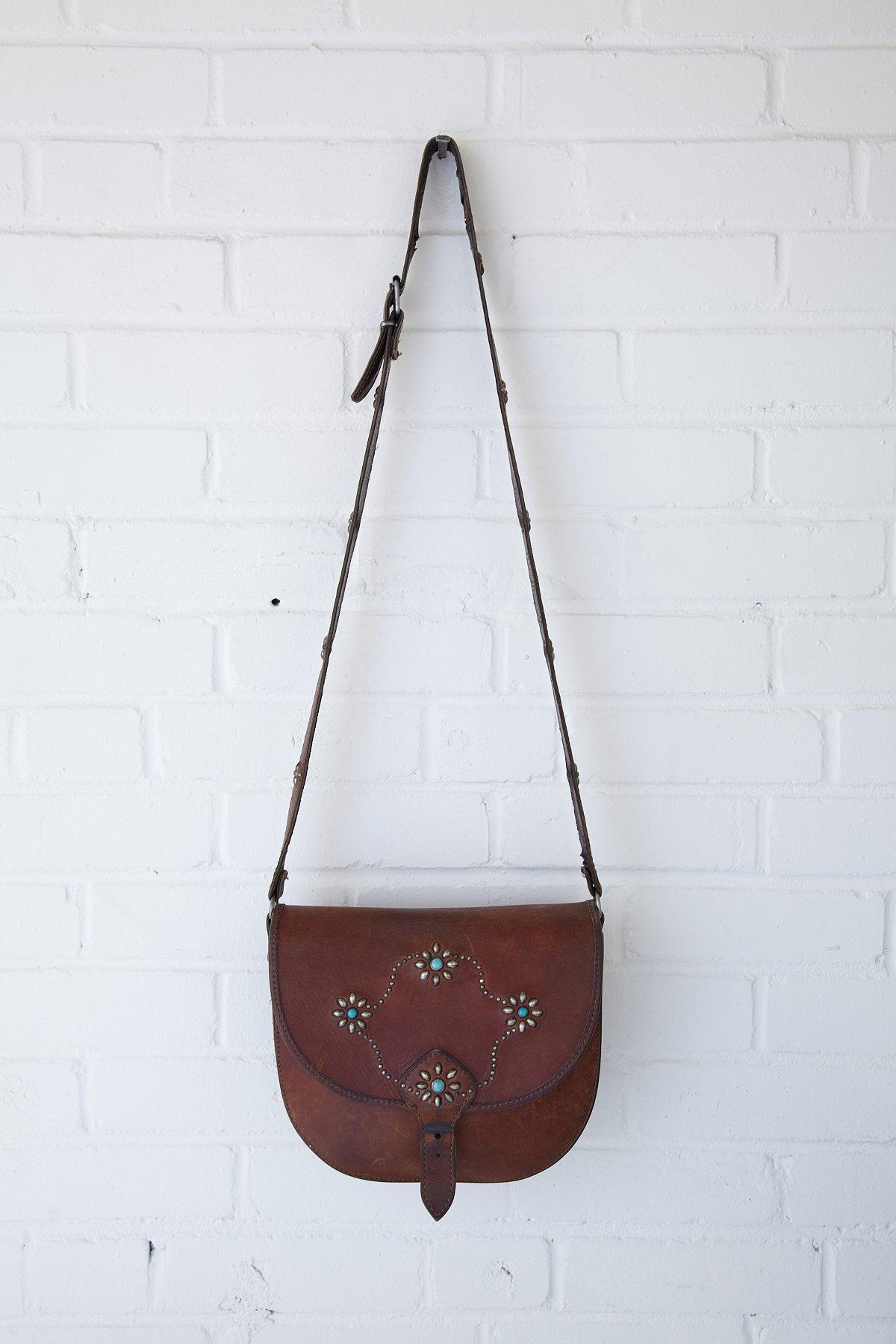 Vintage Brown Stud Floral Saddle Bag