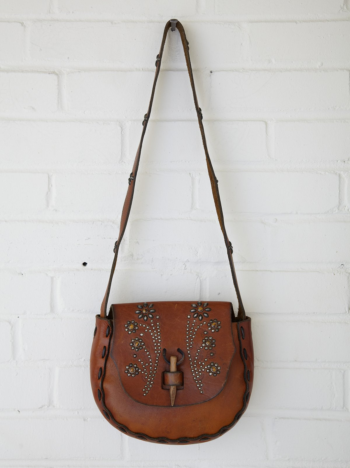 Vintage Tan Flower Stud Saddle Bag