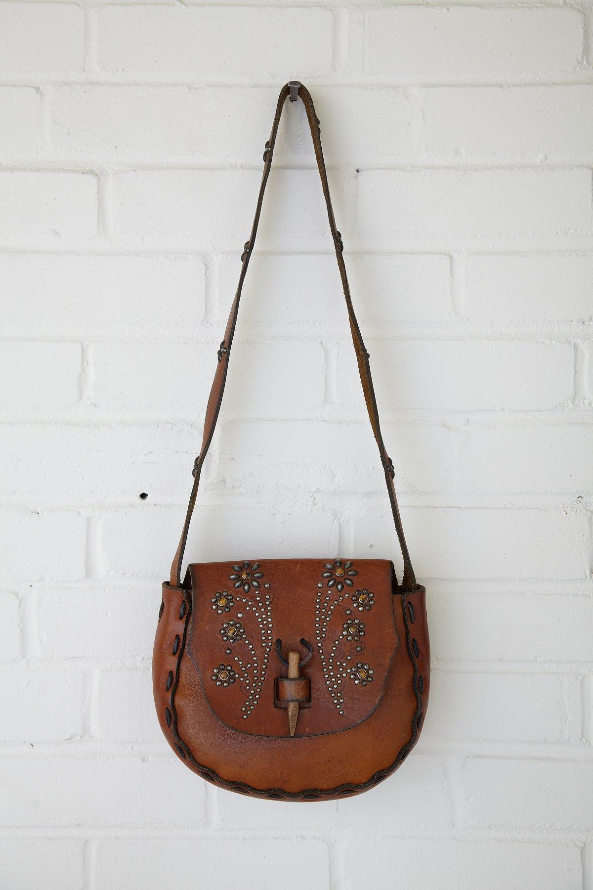 Vintage Tan Flower Stud Saddle Bag
