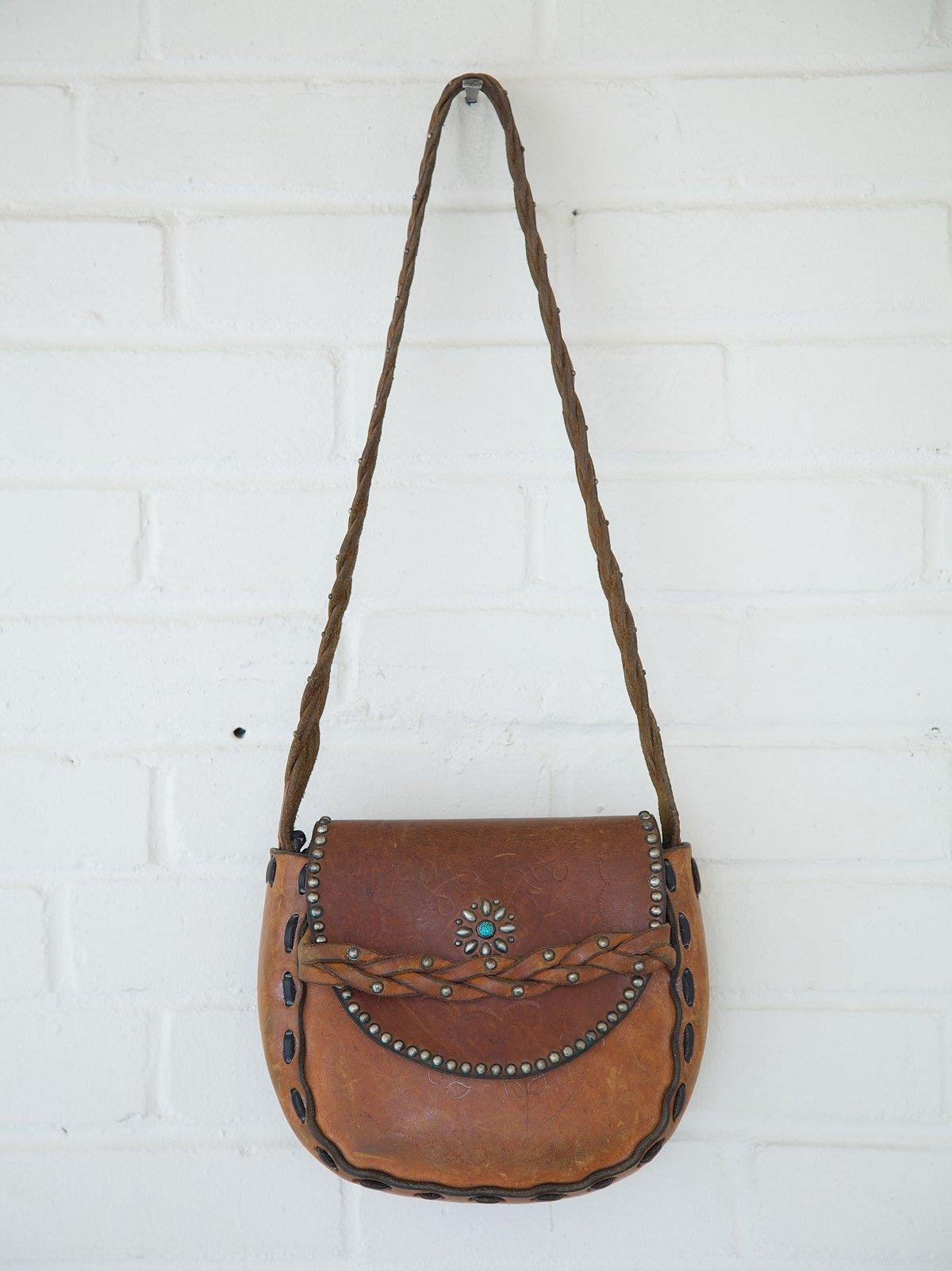 Vintage Flower Braided Studded Saddle Bag