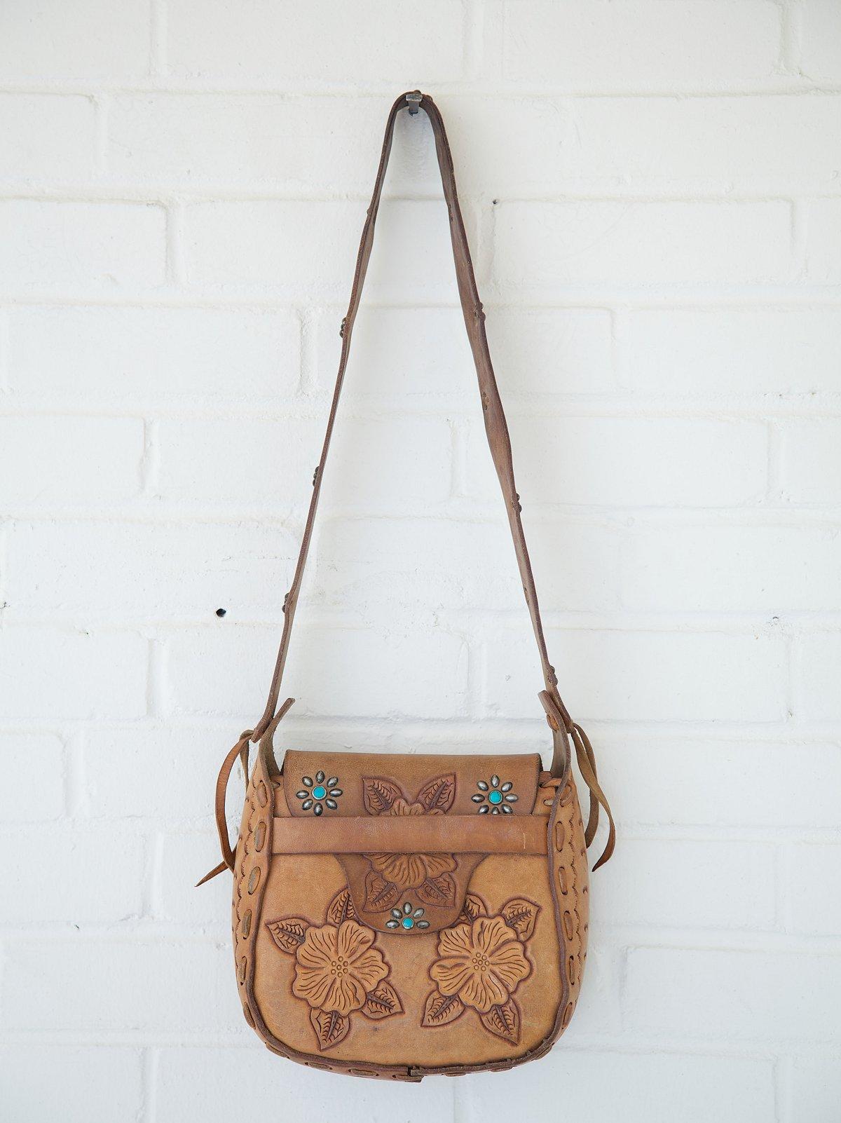 Vintage Embossed Floral Studded Saddle Bag