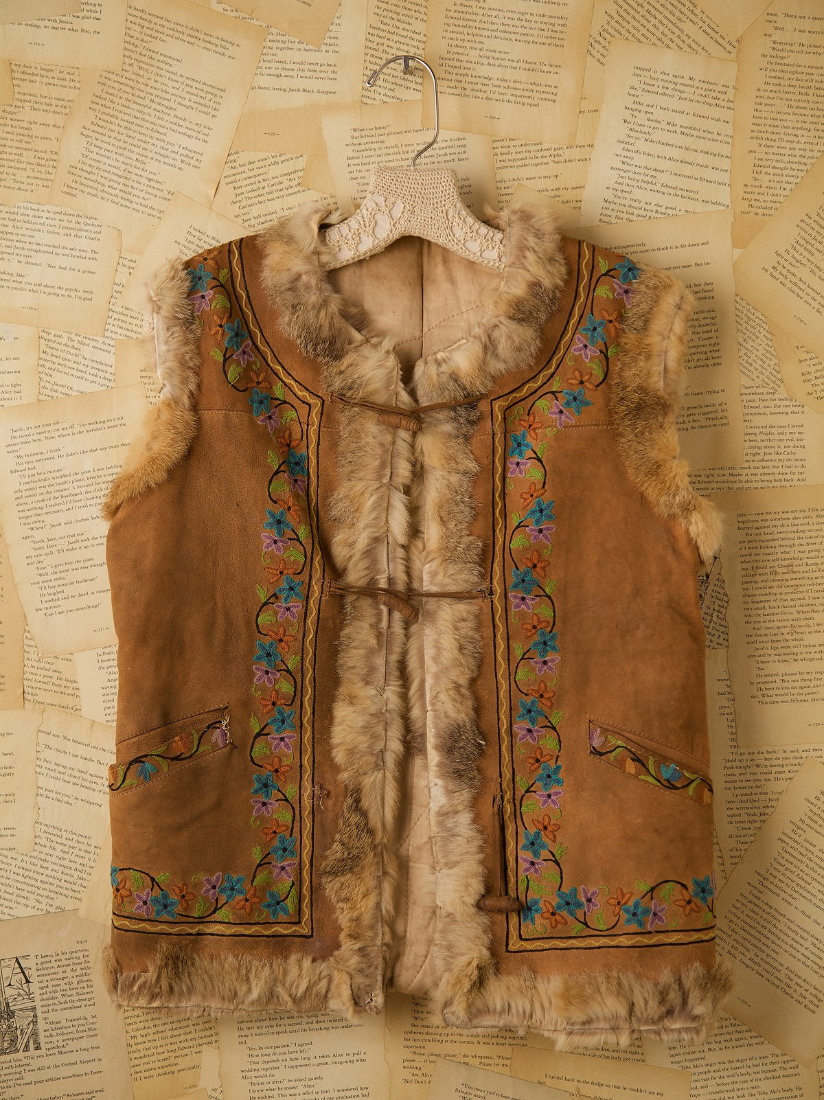 Vintage Suede Embroidered Vest