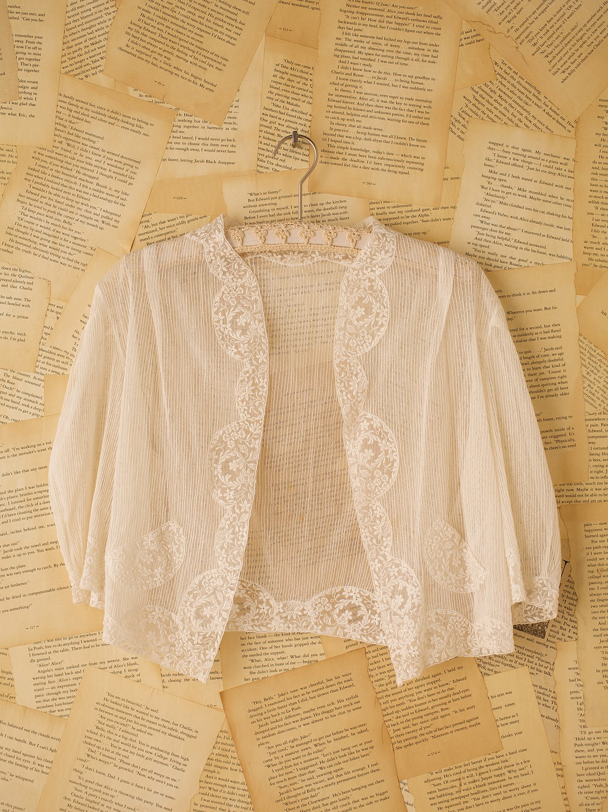 Vintage Lace Embroidered Trim Jacket
