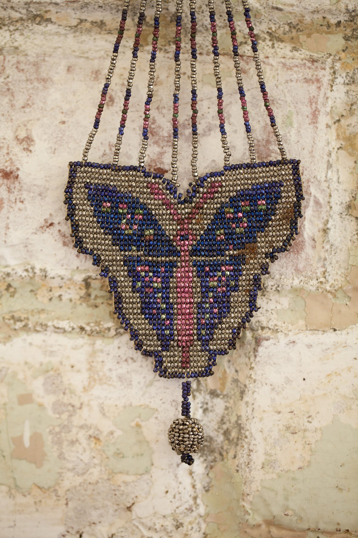 Vintage French Bead Necklace with Butterfly Detailing