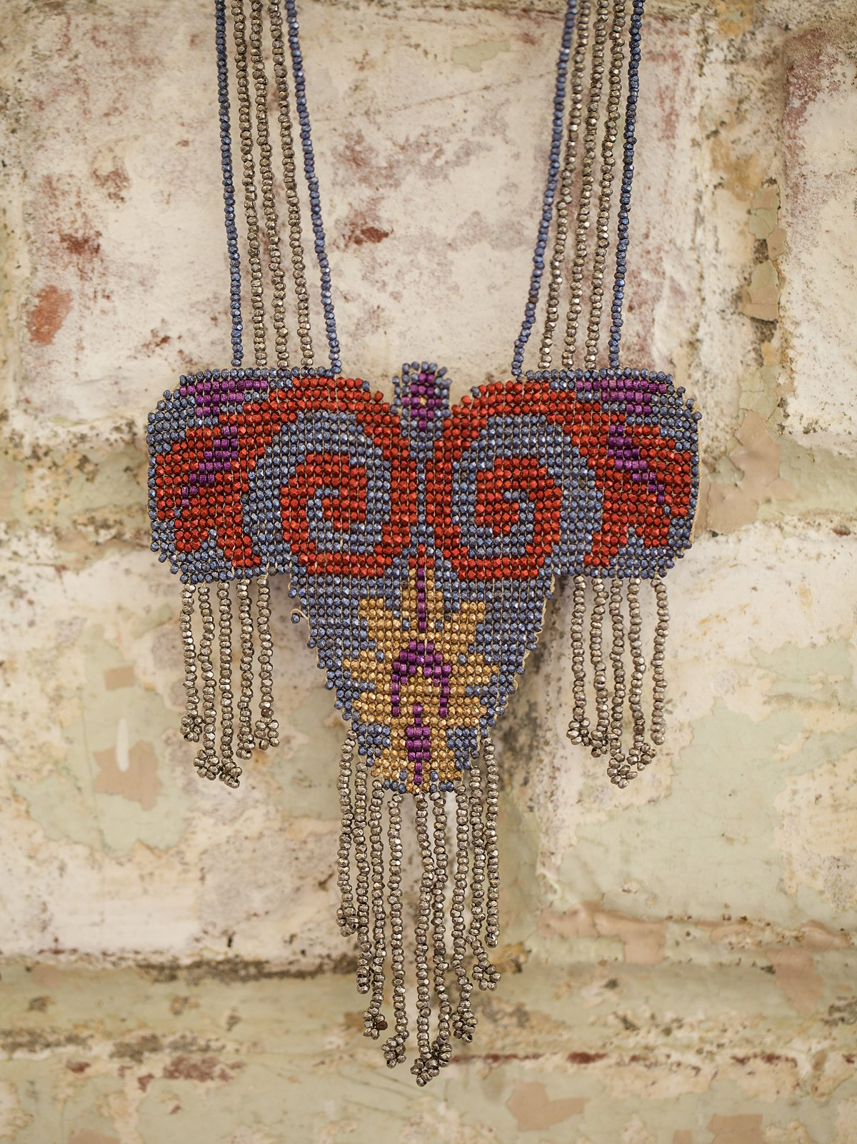 Vintage French Bead Necklace with Fringe